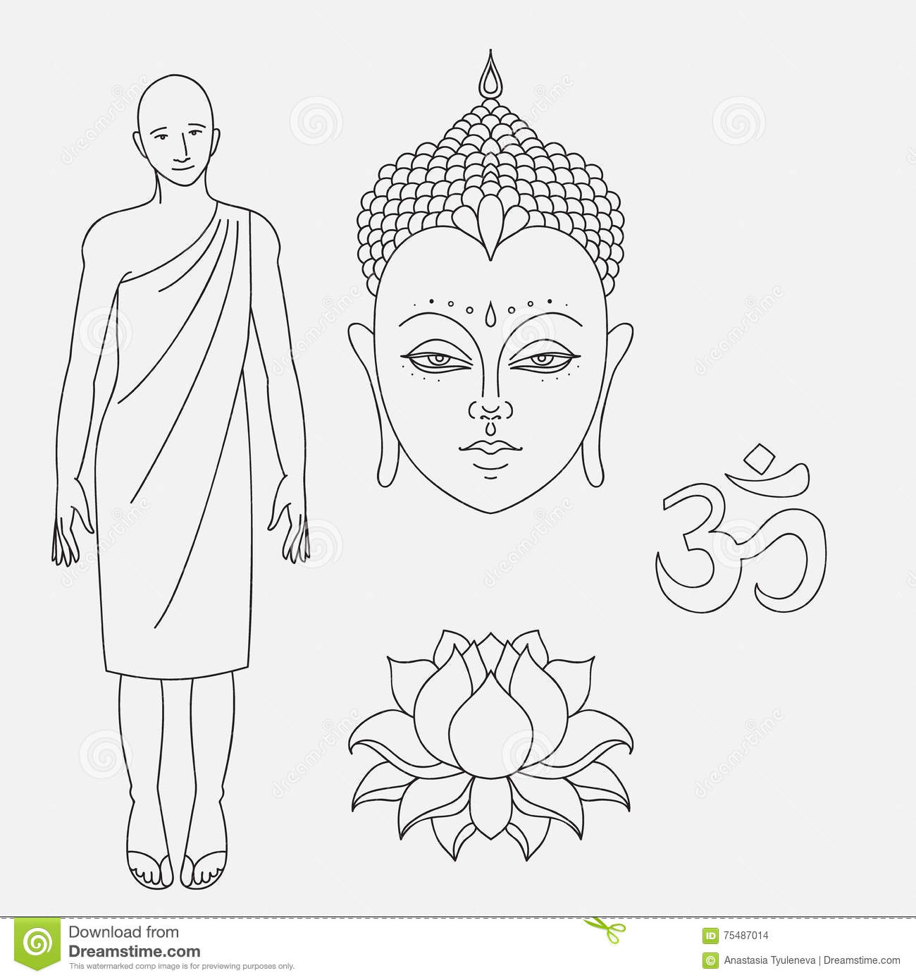 Head of buddha outline buddhist monk om sign hand drawn lotus head of buddha om sign outline buddhist monk hand drawn lotus flower isolated icons of mudra beautiful detailed serene vintage decorative elements izmirmasajfo