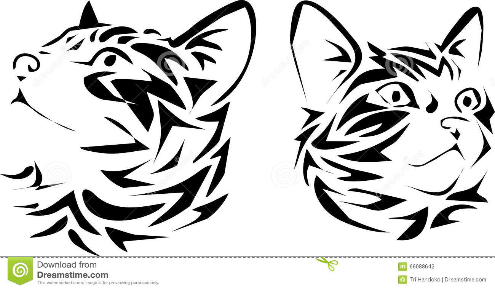 head cats tribal stock illustration image 66088642