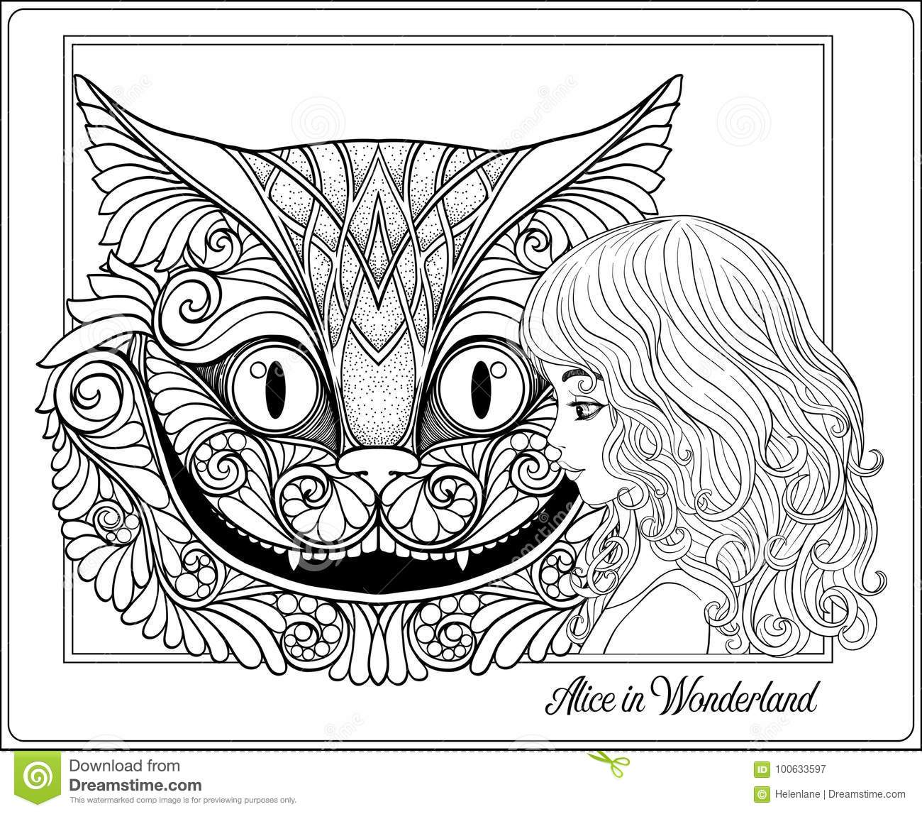The Head Of The Cheshire Cat And Girl From The Fairy Tale Alice