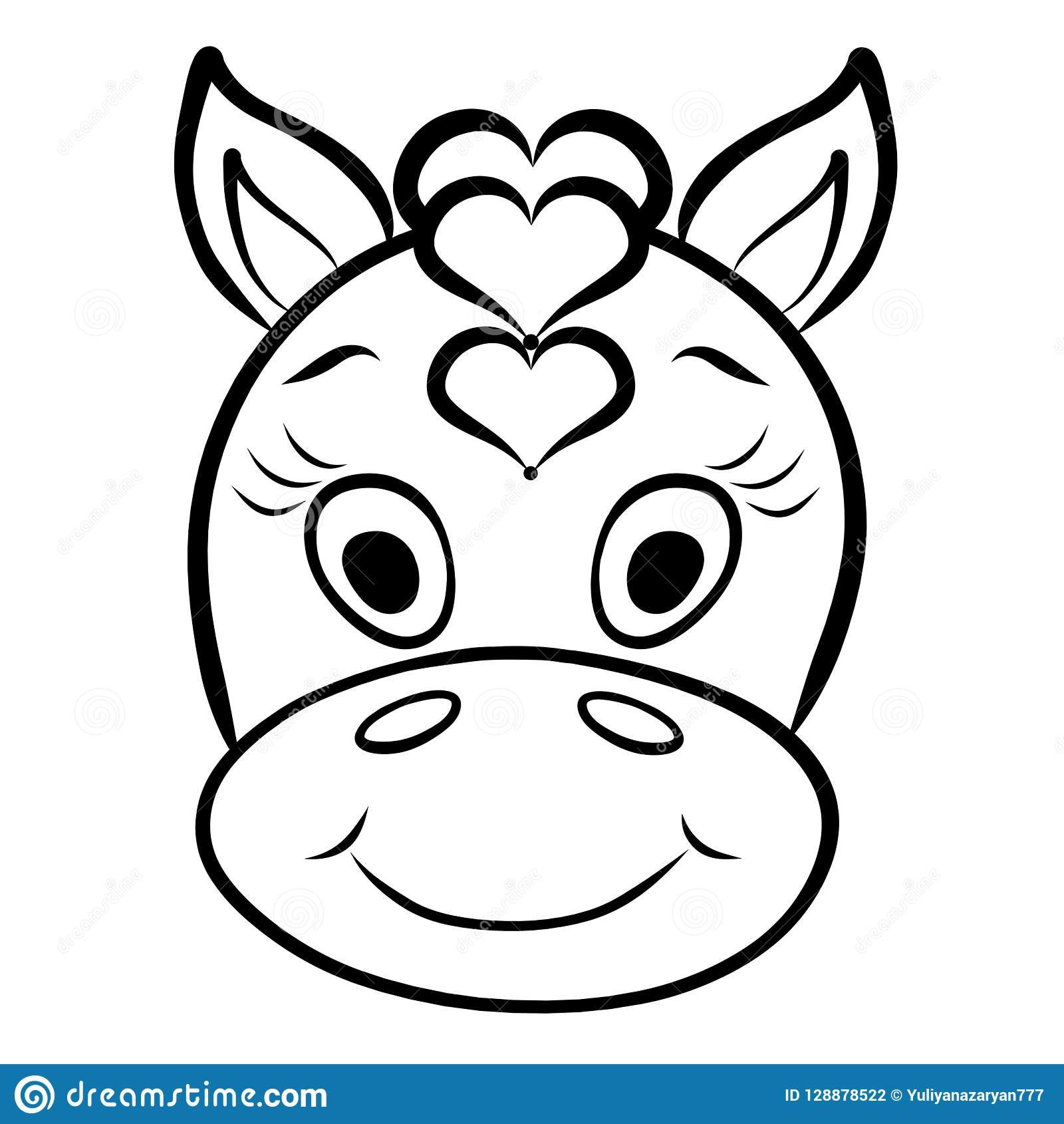 Head Of A Cute Horse With A Mane Of Hearts Black Outline Stock Illustration Illustration Of Love Funny 128878522