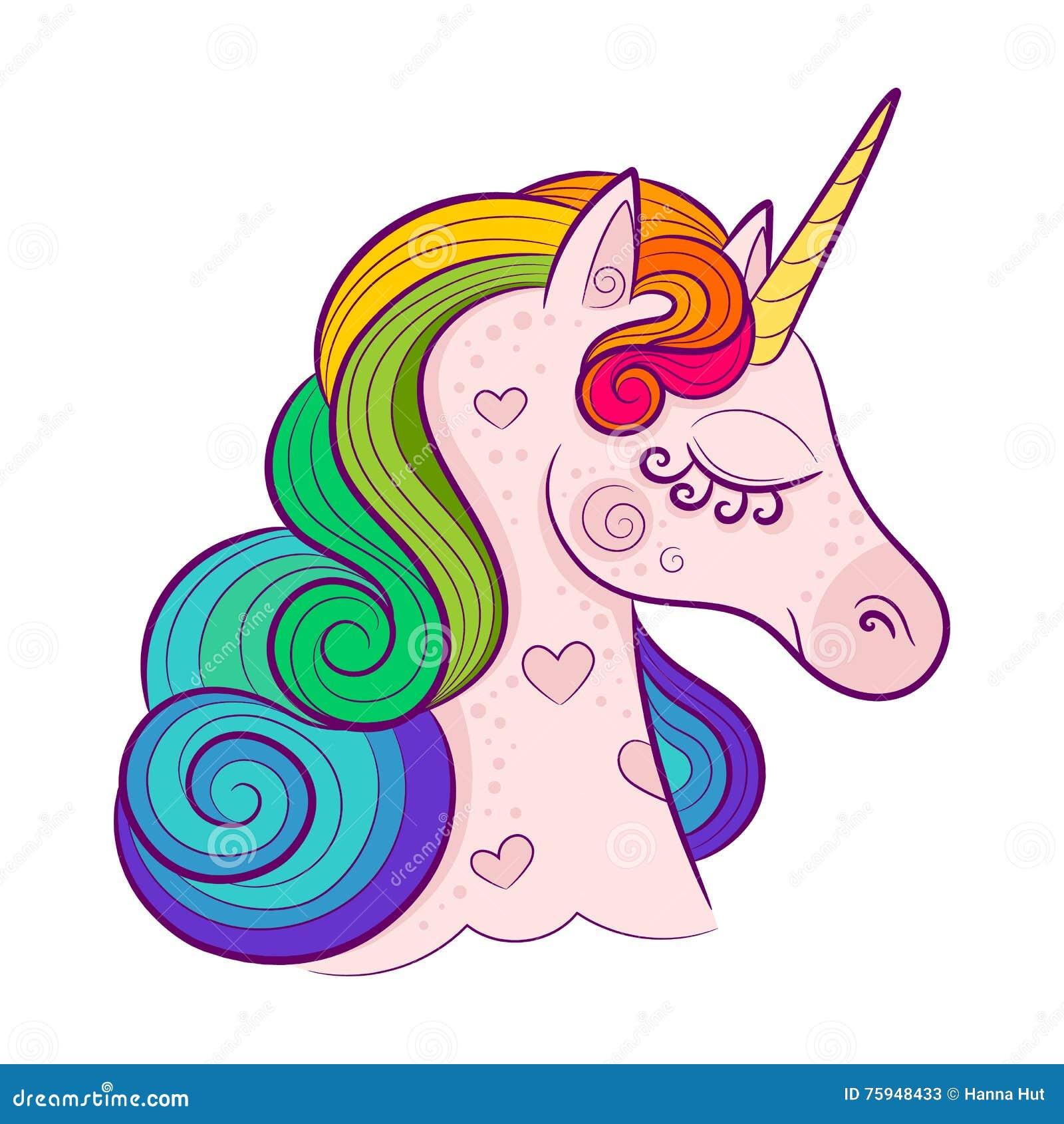 Head of cute white unicorn with rainbow mane isolated on white background