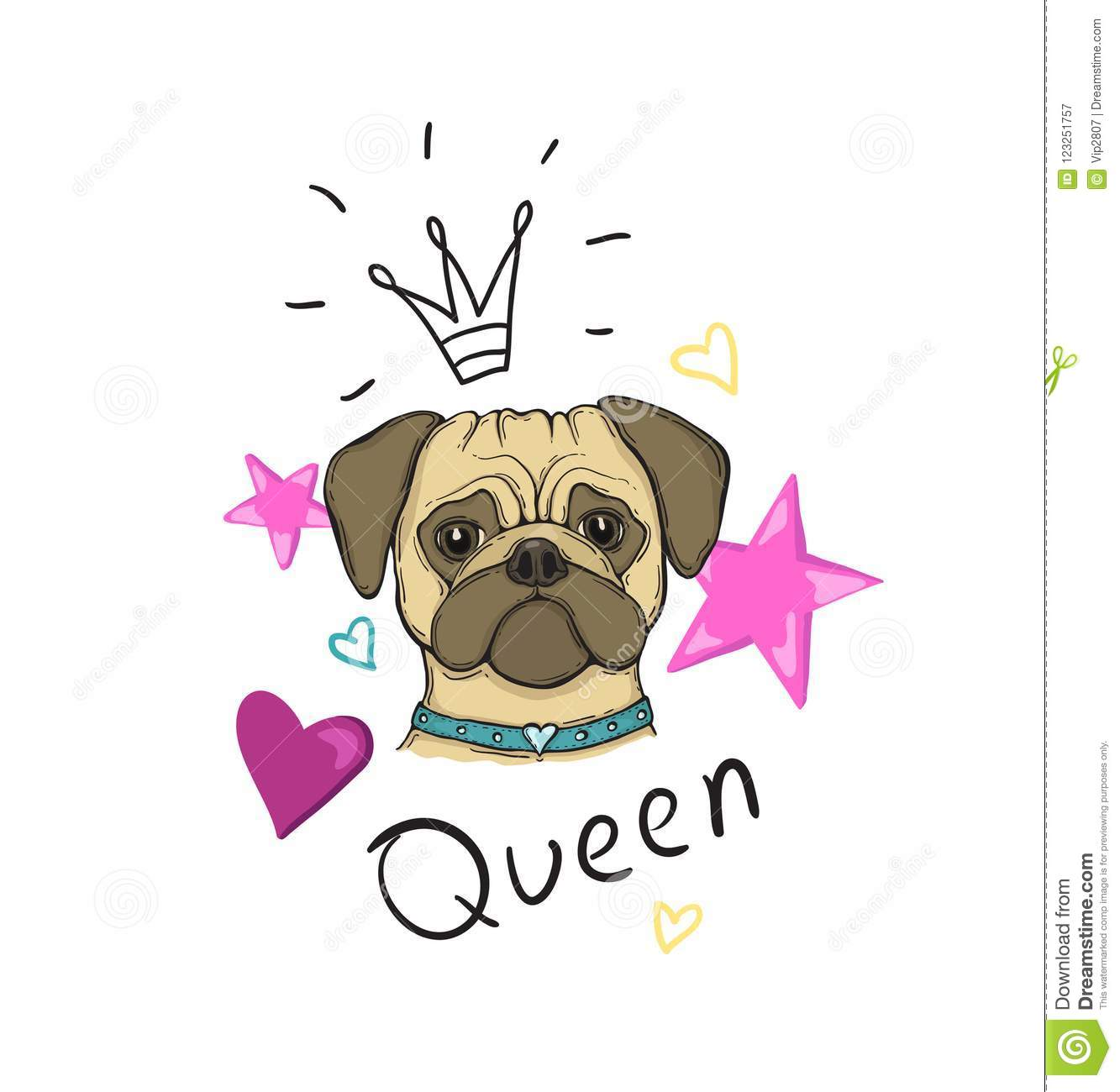29b6245790ef Head Dog pug, hand-painted, portrait. With the inscription Queen, star