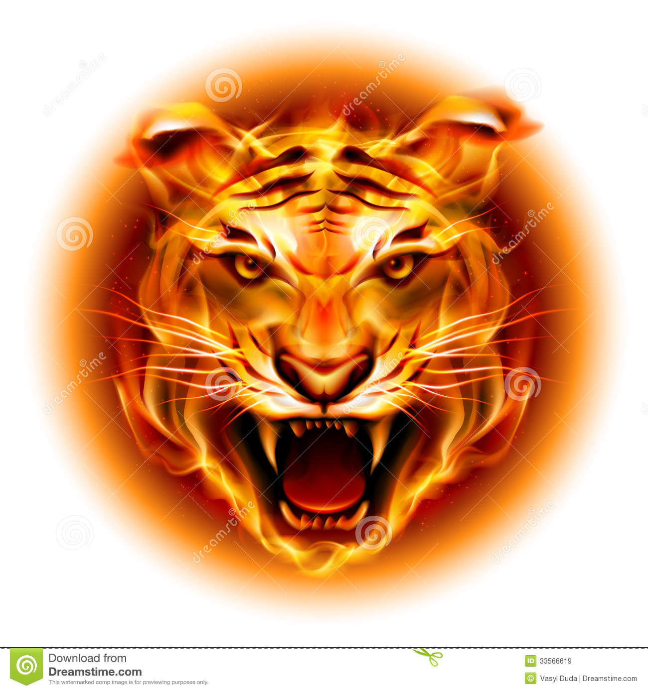 Head Of Fire Tiger Royalty Free Stock Images - Image: 33566619