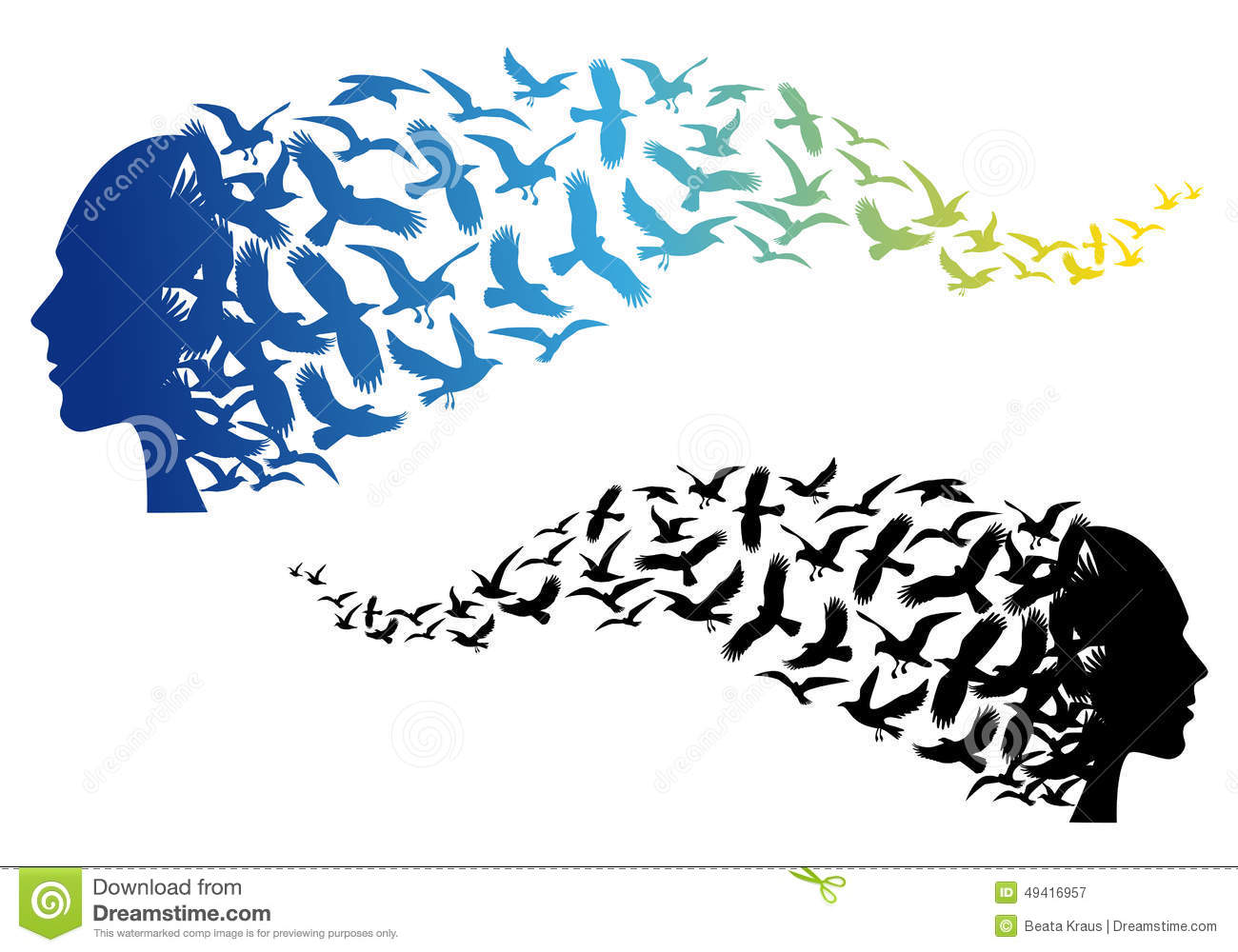 Stock Illustration Head Flying Birds Vector Free Spirit Colorful Illus...