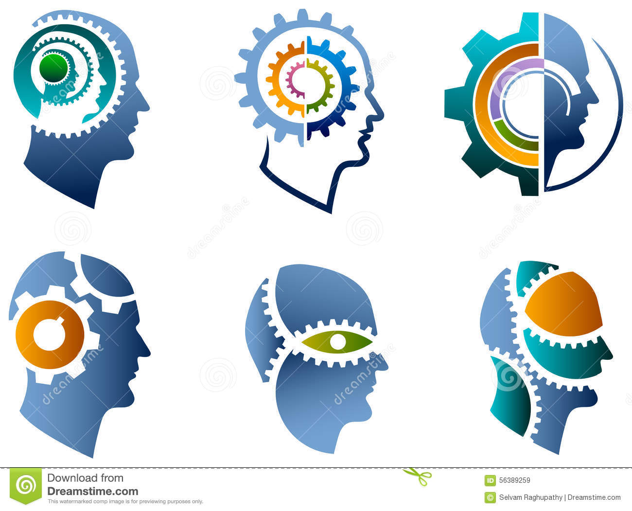 Head And Gear Logo Set Stock Vector Image 56389259