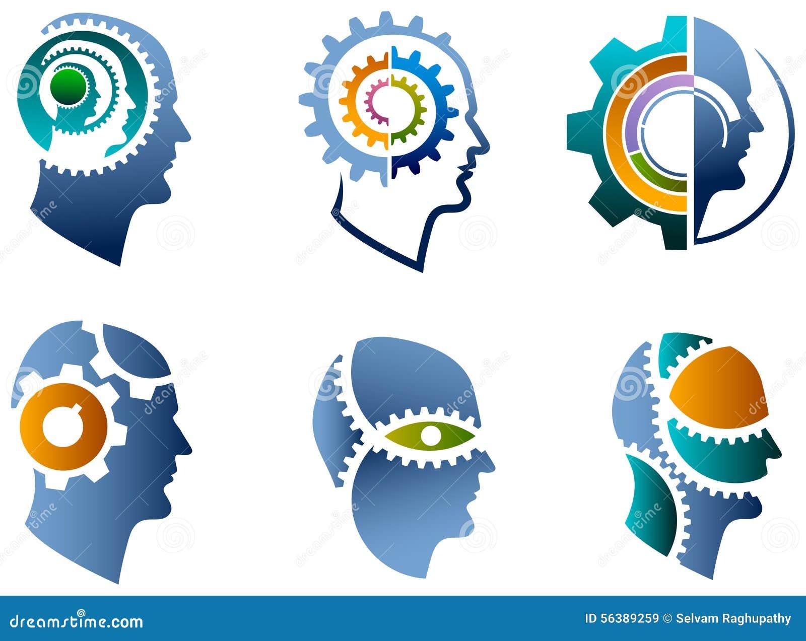 Head and gear logo set