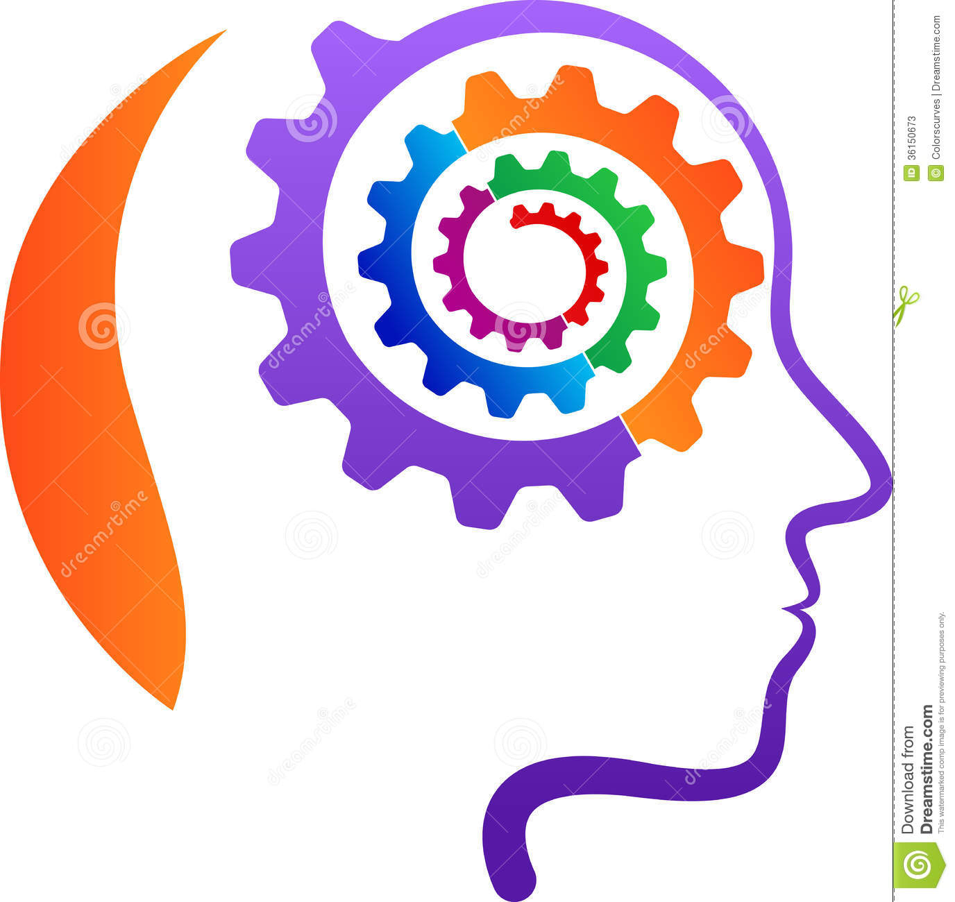 Head With Gear Mind Stock Vector Image Of Brain Bright