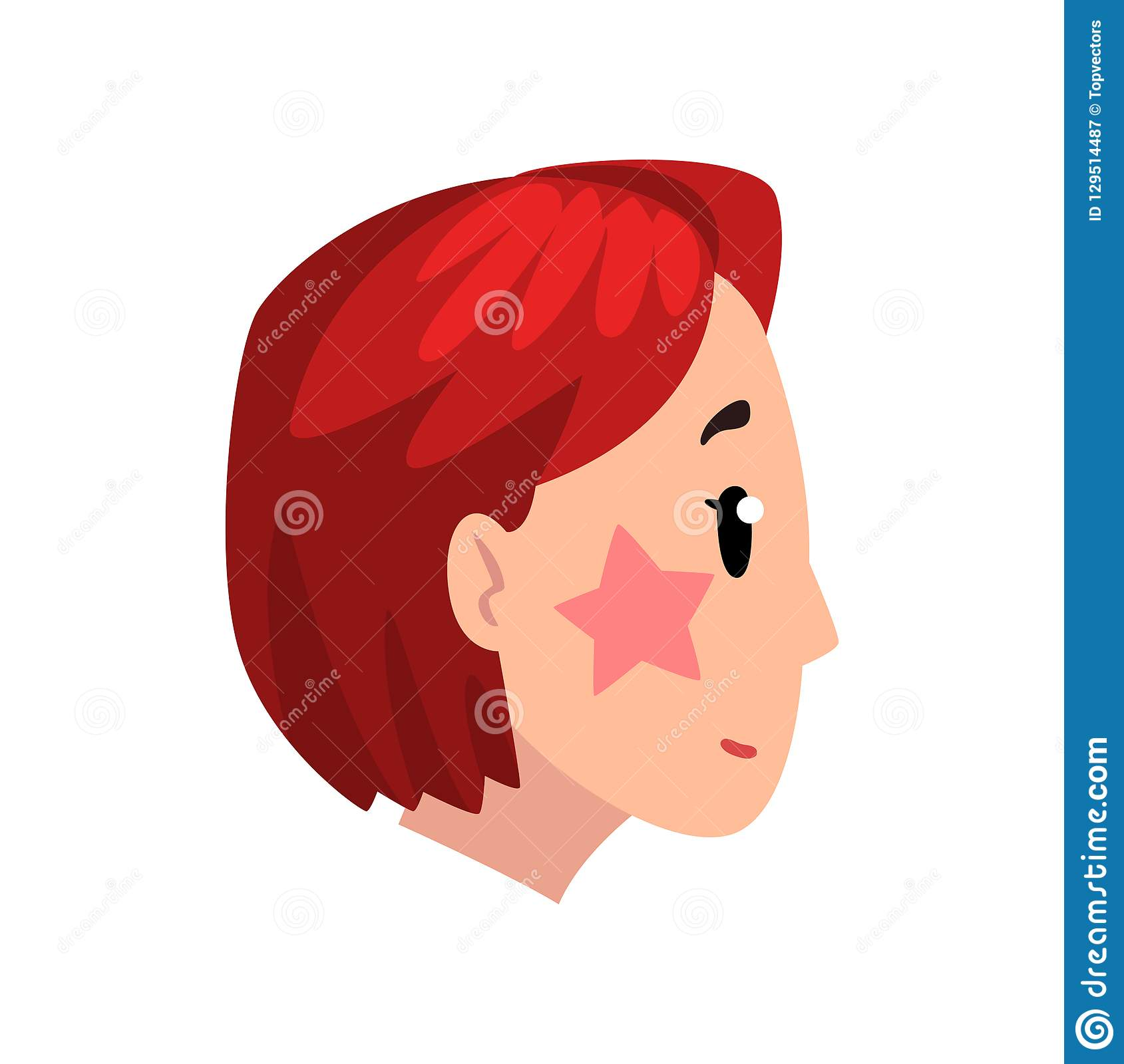 Head Of Girl With Short Dyed Hair Profile Of Young Woman With