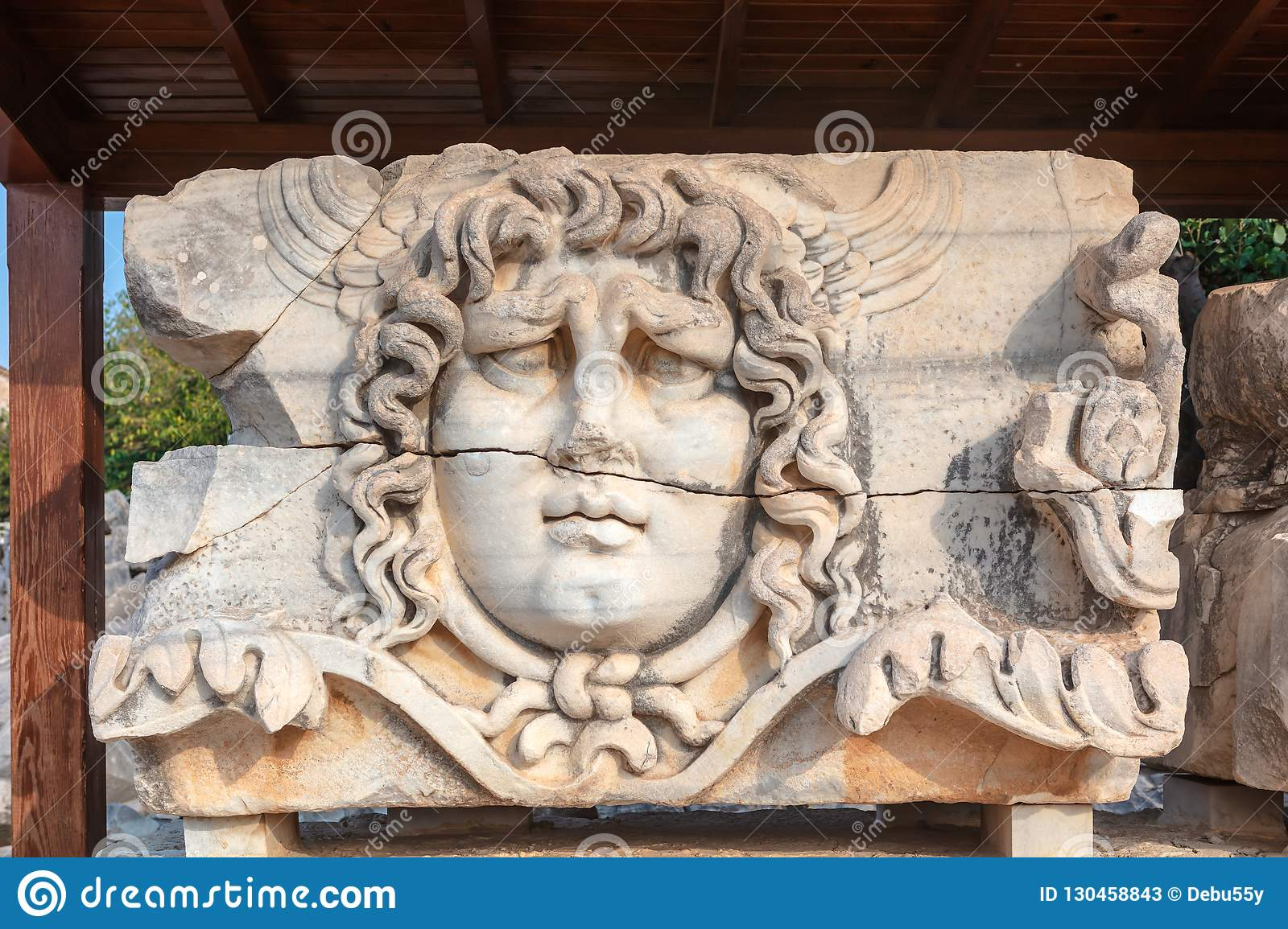Marble Tablet With Ancient Stone Carving Of Medusa Head