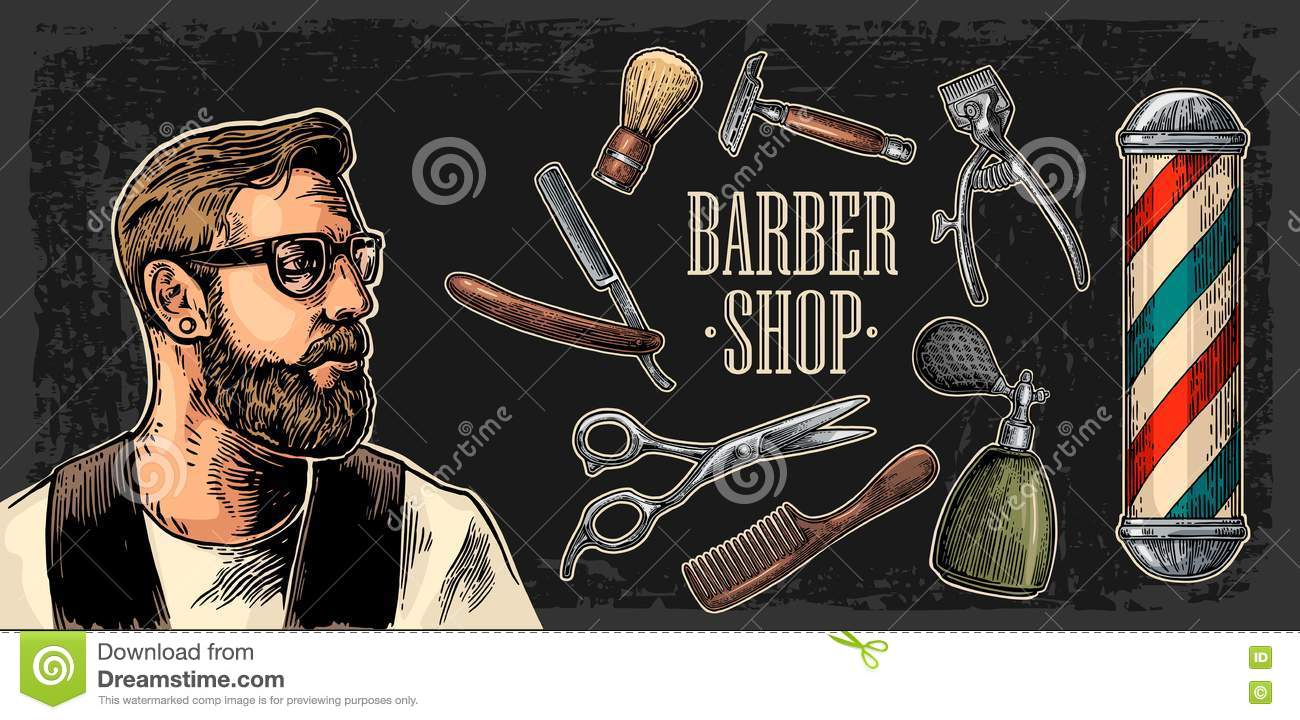 Head hipster and equipment for BarberShop