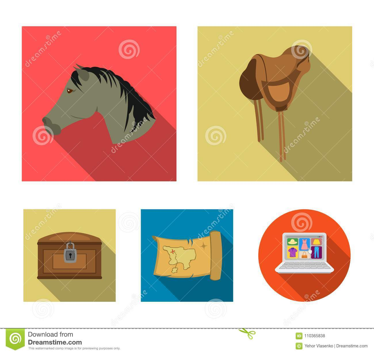 Head Of A Horse, A Saddle, A Treasure Map, A Chest Wild West