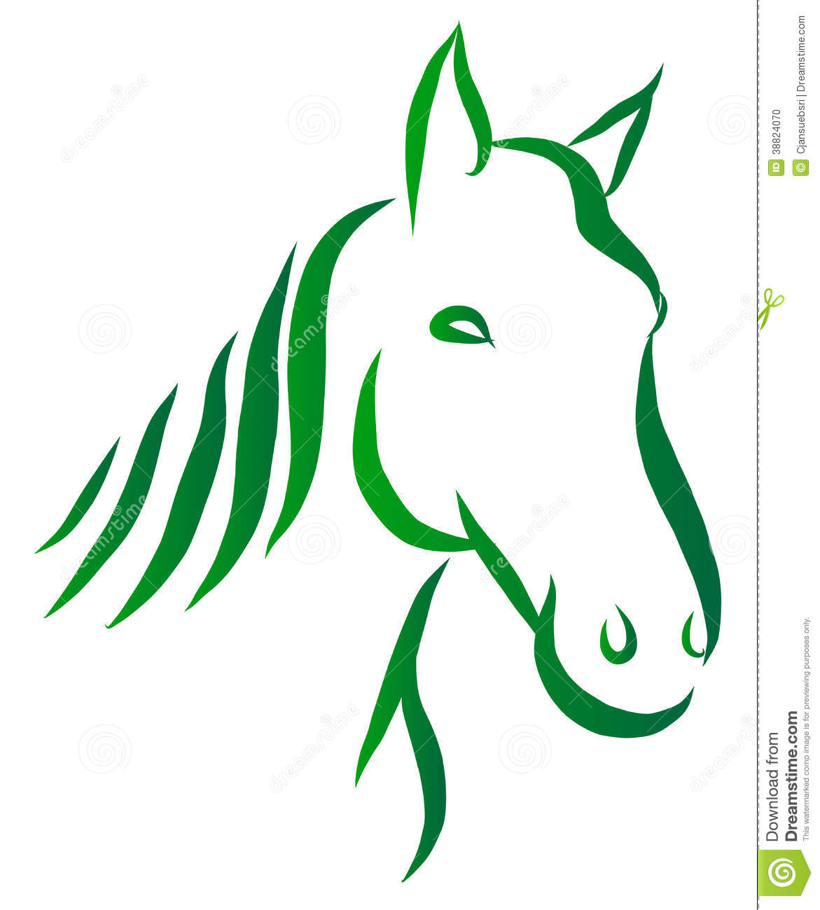 Line Art Vector Design : Head of horse vector stock image