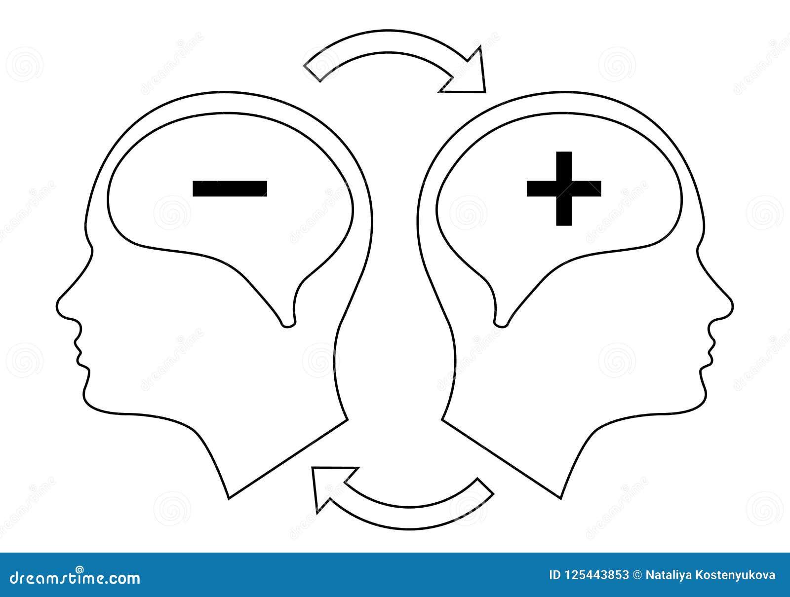 Head Icon For Bipolar Disorder Stock Vector Illustration Of Minus