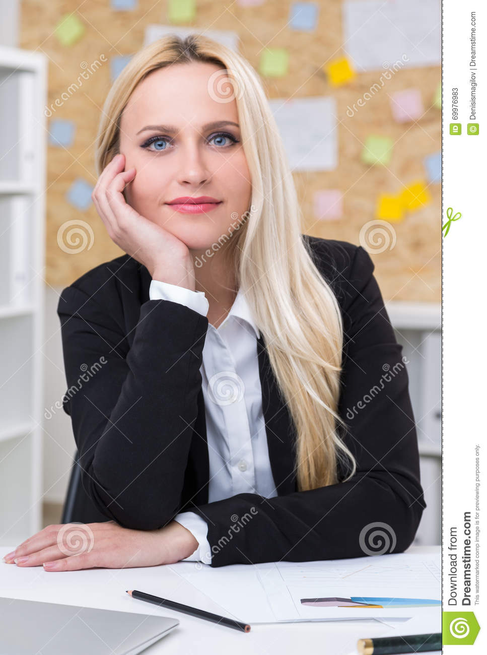 Head Leaning On Hand Stock Photo Image 69976983