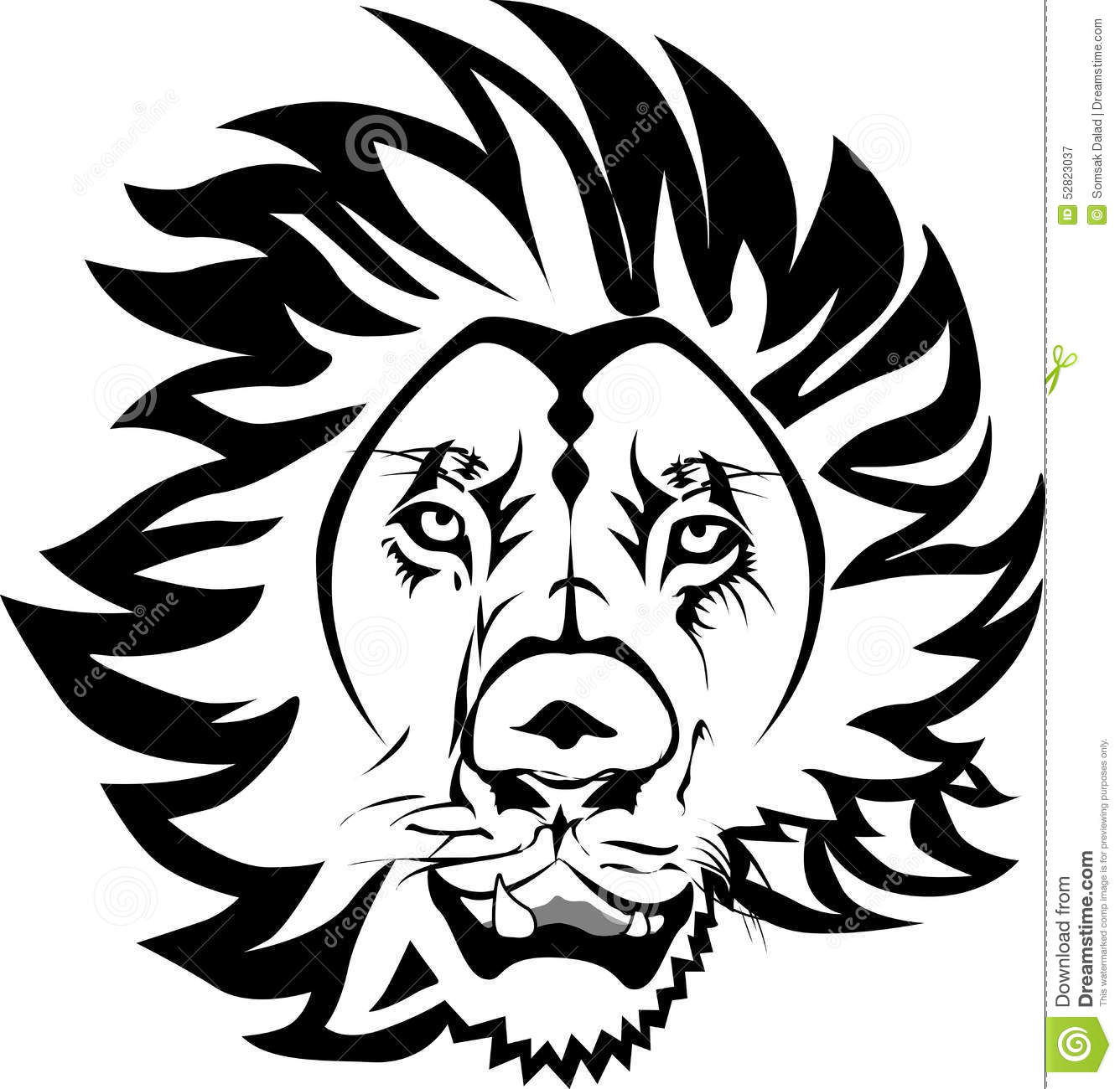 Head lion design vector line art black white dangeraus lion man sticker cut art design tooth line eye black hair brushes lines around the head lions head
