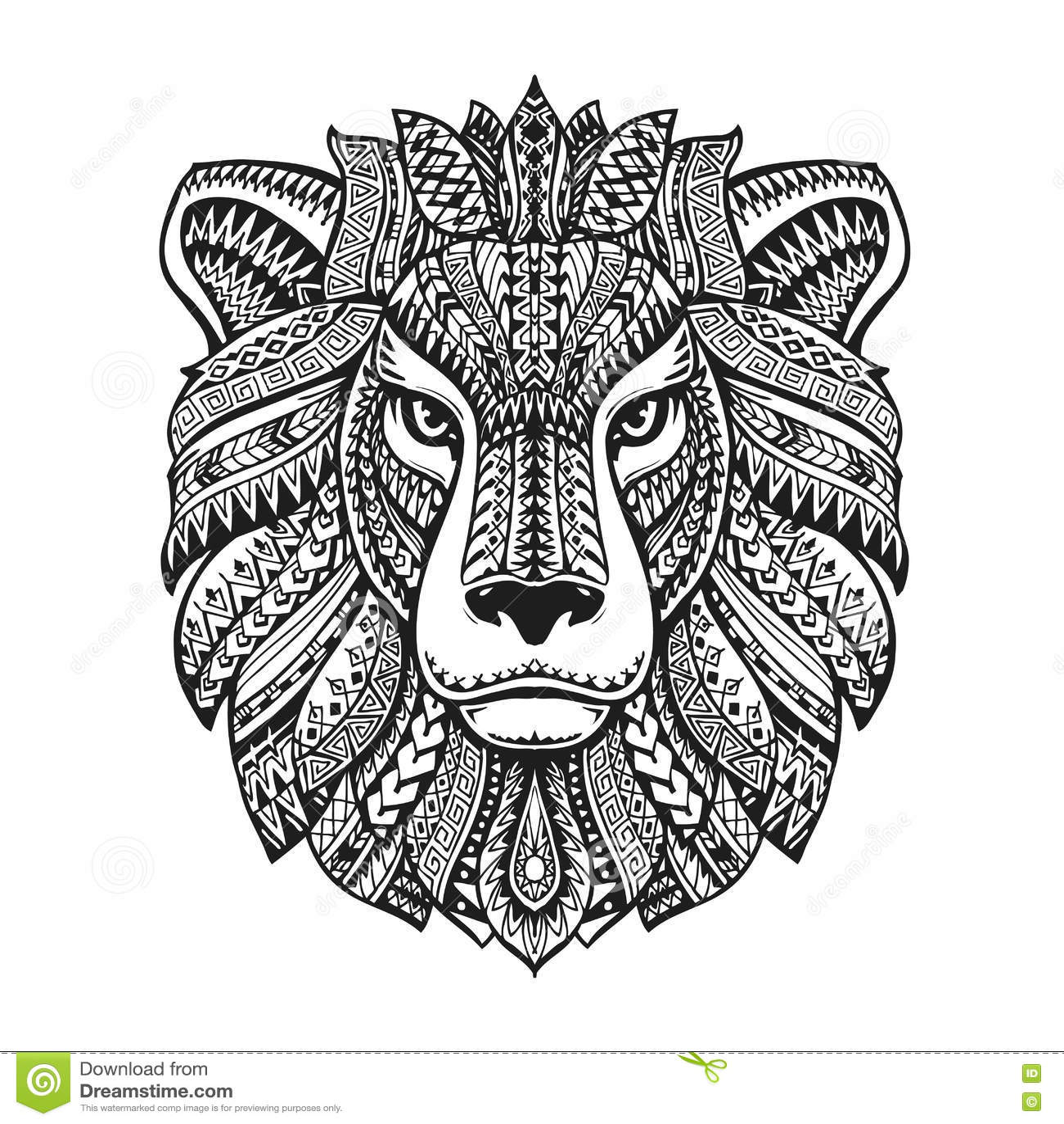 Head Lion Ethnic Patterns Hand Drawn Vector Illustration
