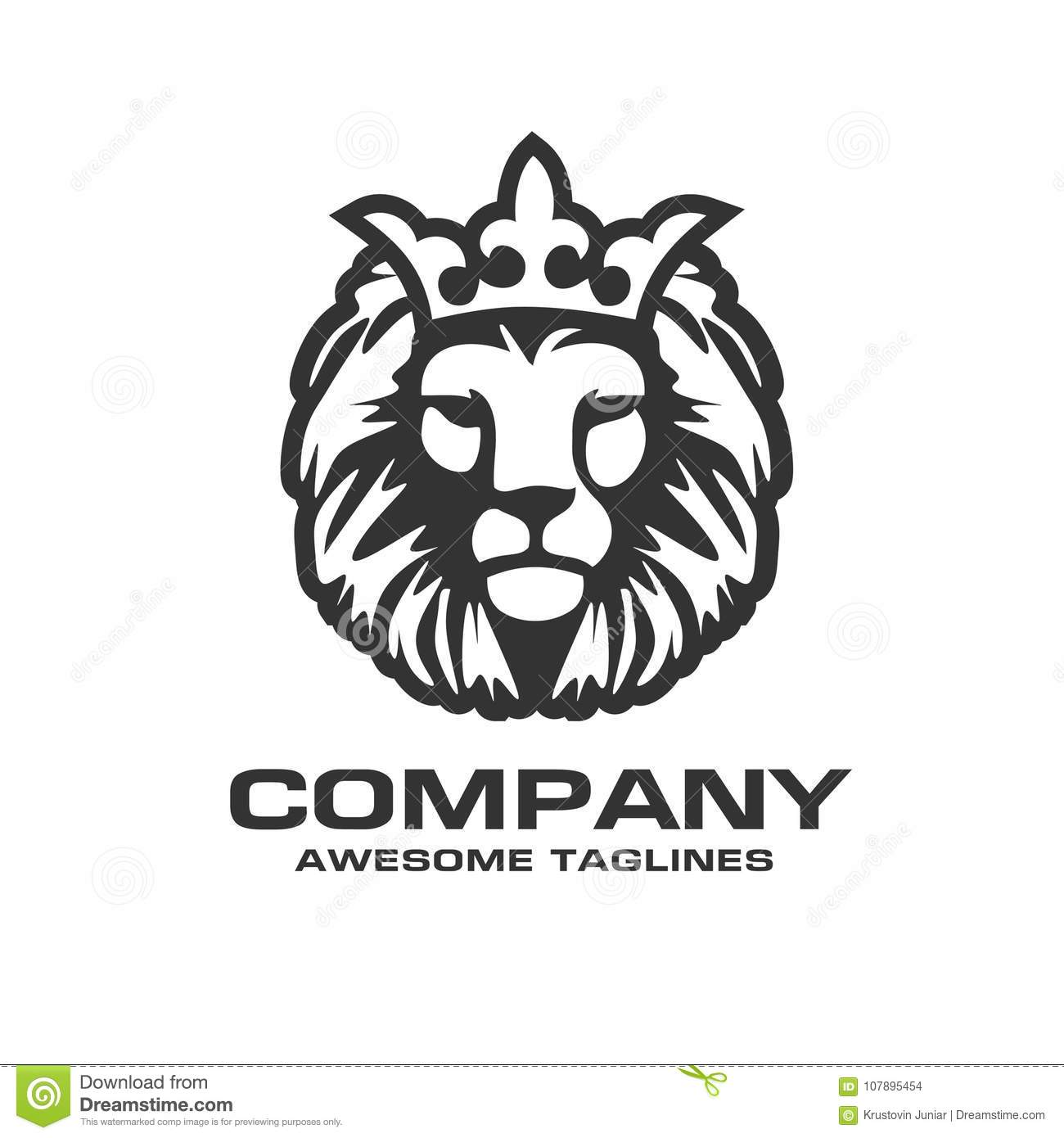 The Head Of A Lion With Royal CrownLion Crown Vector Sign Concept Illustration Kings Logo