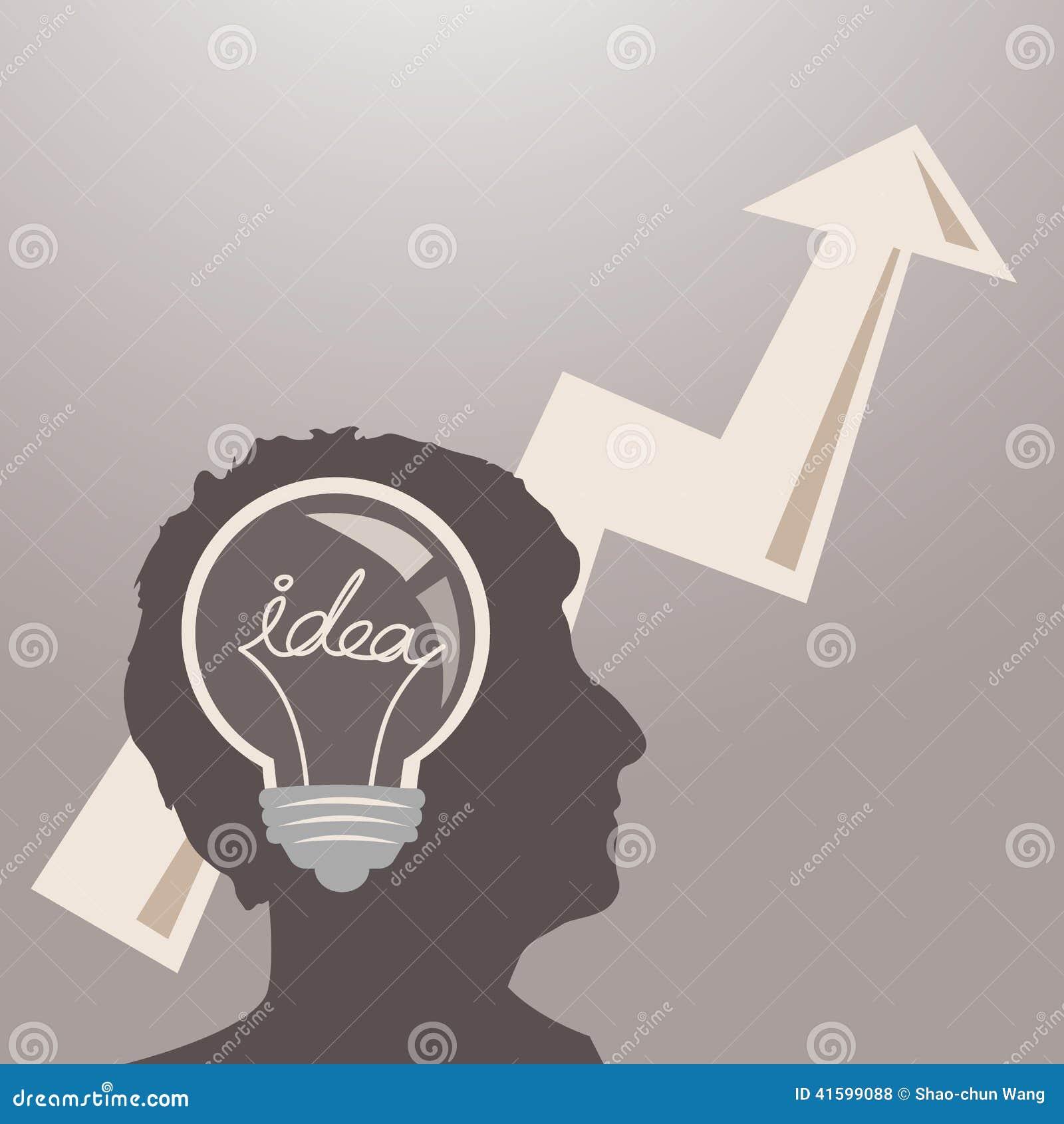Head människa för lampa mot begreppsmässig bakgrund