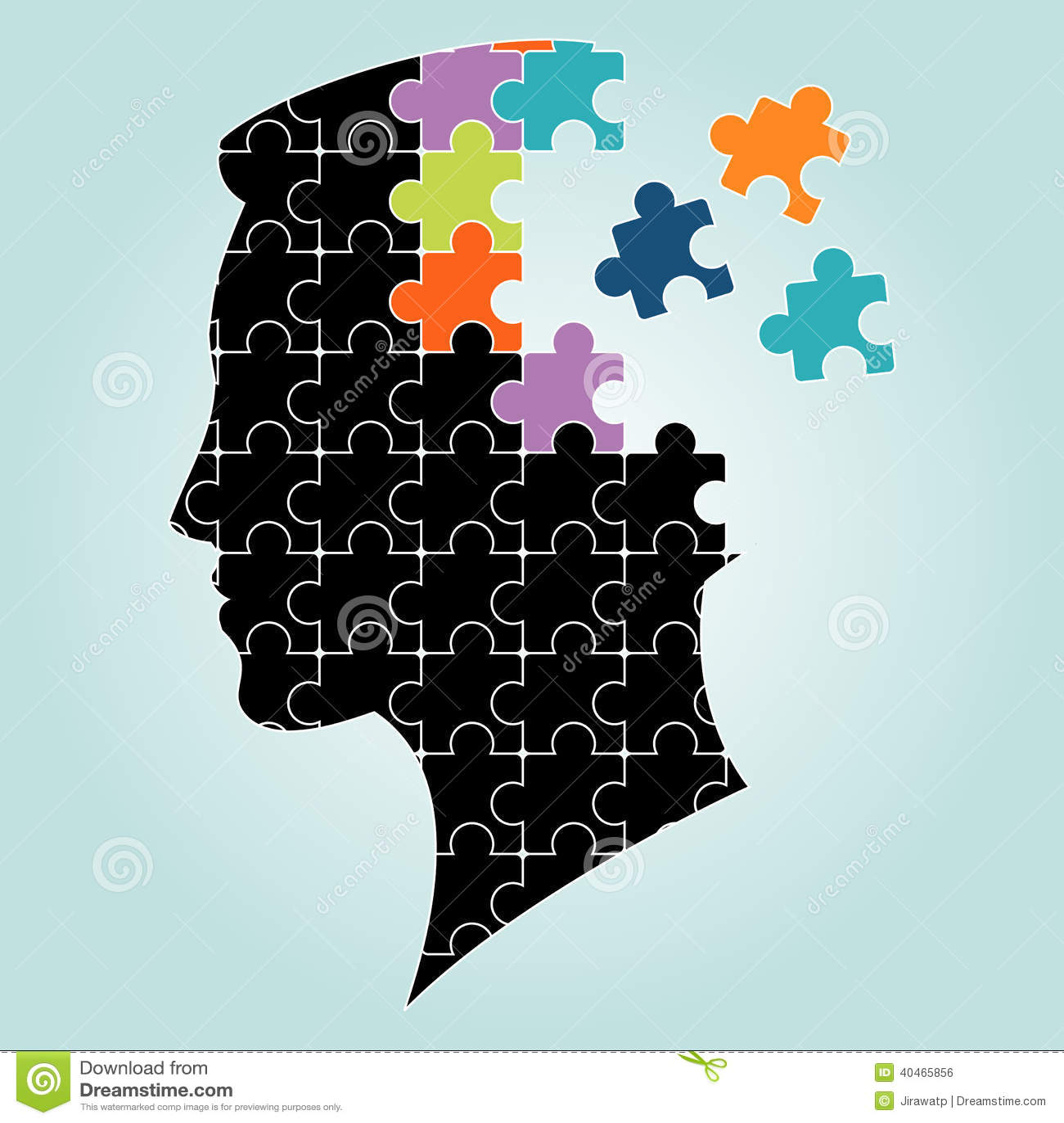 Head Man Puzzles Strategy Vector Illustration Stock