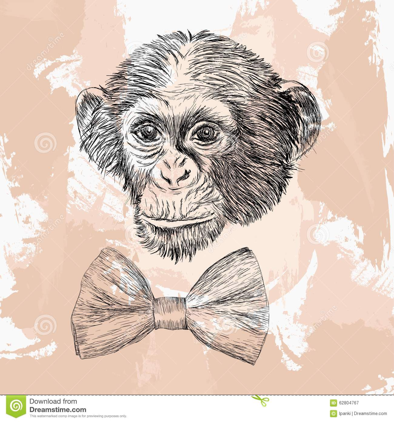 Monkey with tie cartoon vector 72040597 for Year of the monkey tattoo