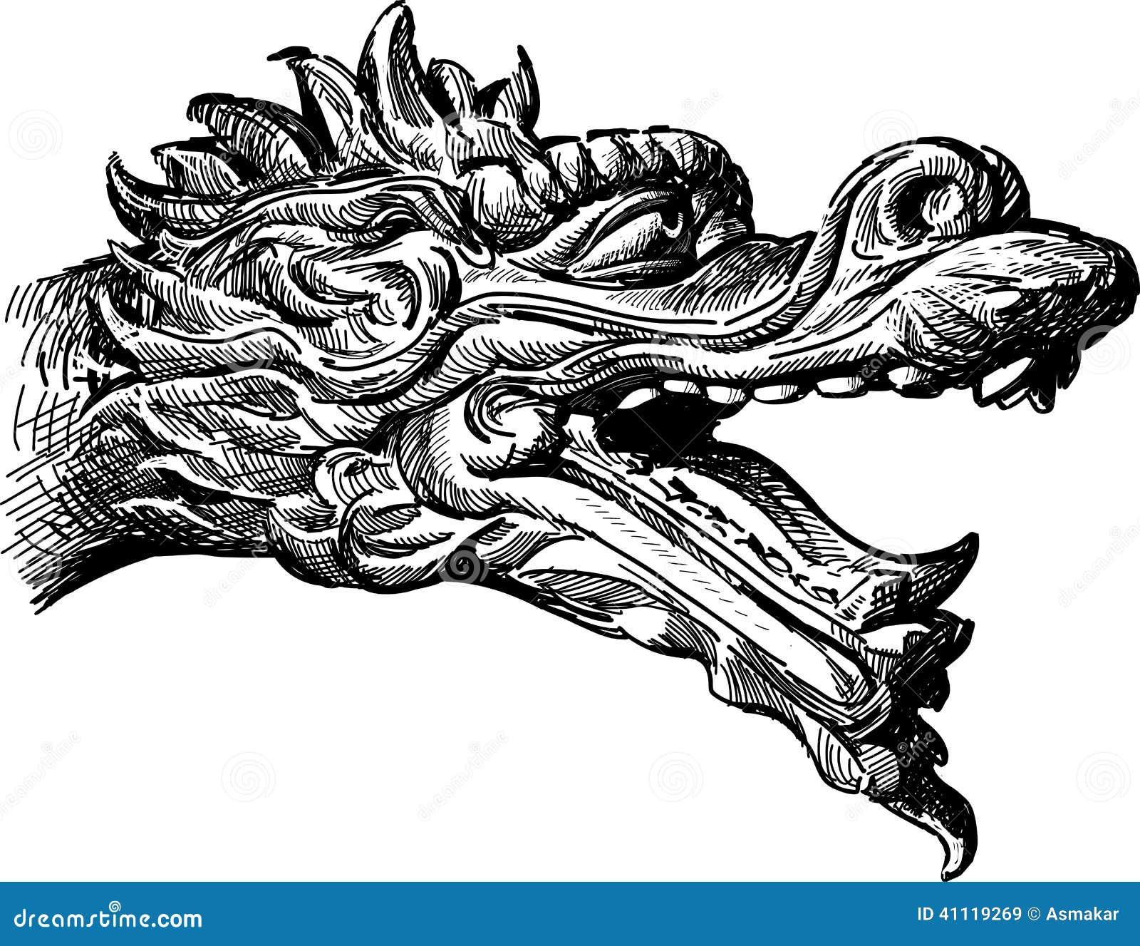 chinese dragon line art head