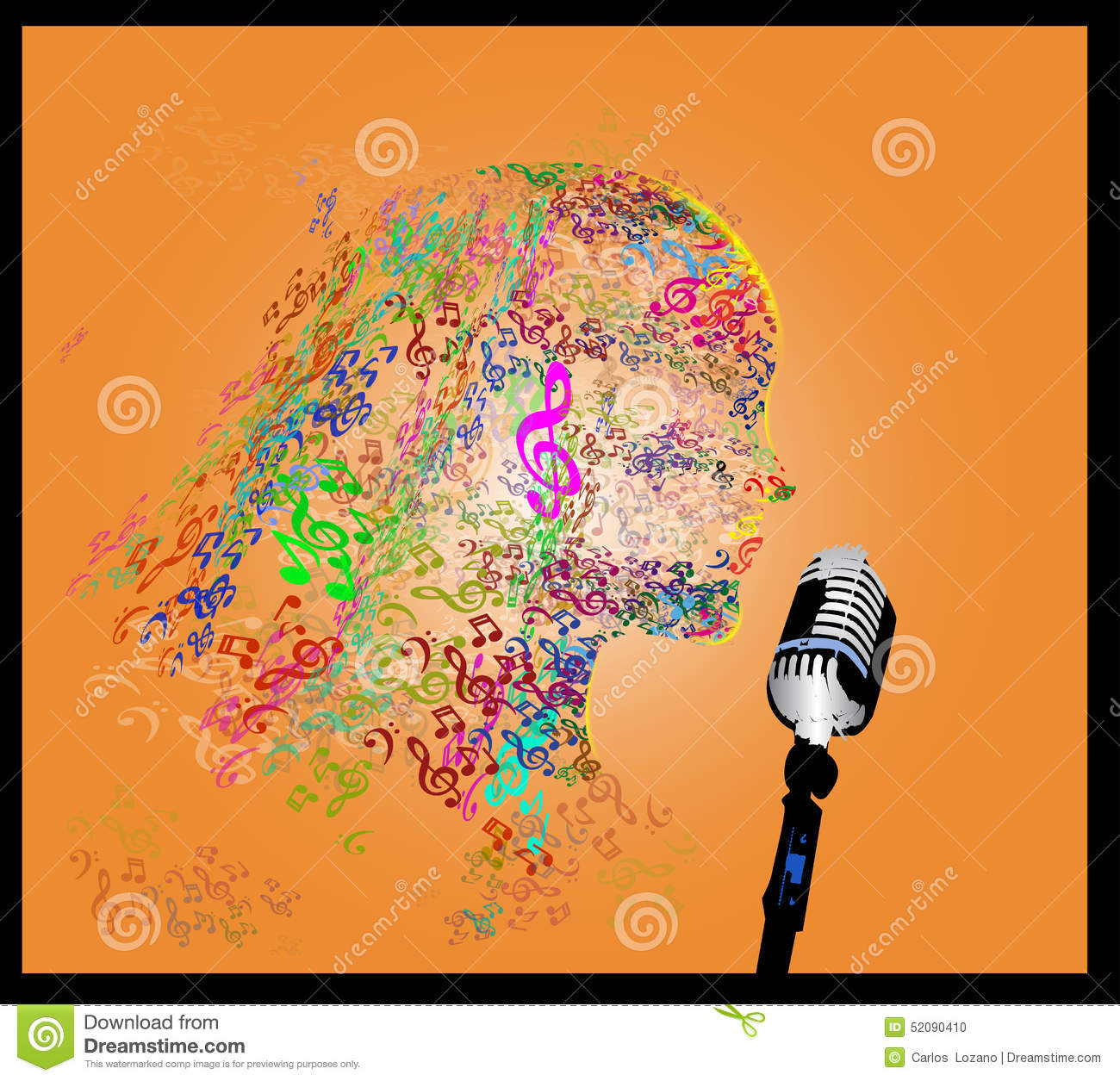 Head with note music stock illustration  Illustration of funky