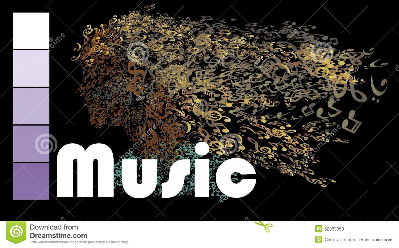 Head with note music stock illustration  Illustration of