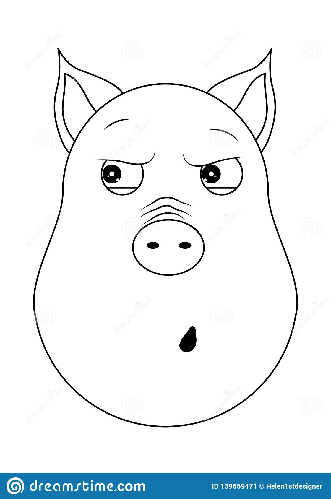 Head of paranoid pig in outline style. Kawaii animal.