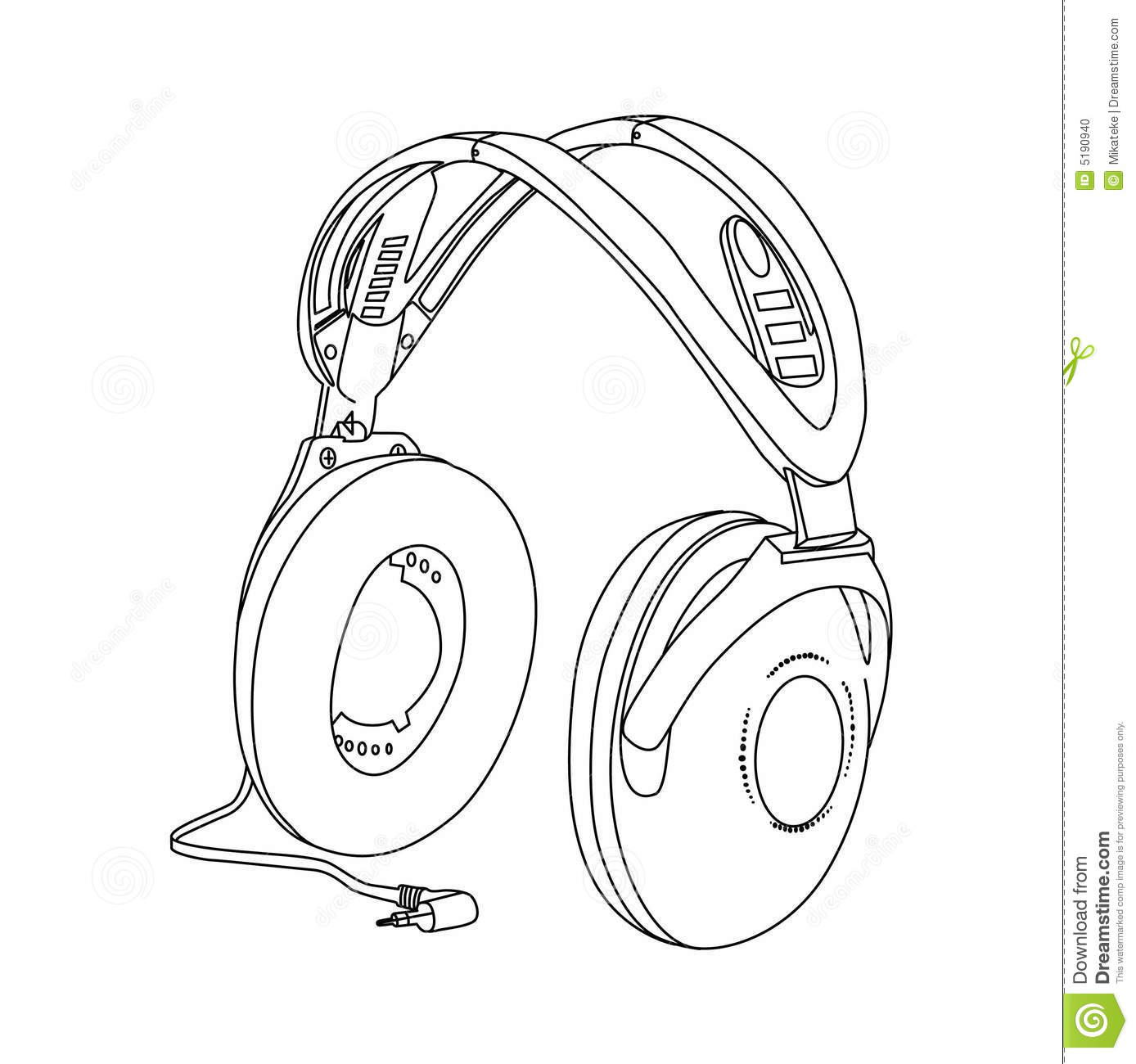 Head-phones stock vector. Illustration of line, sound - 5190940