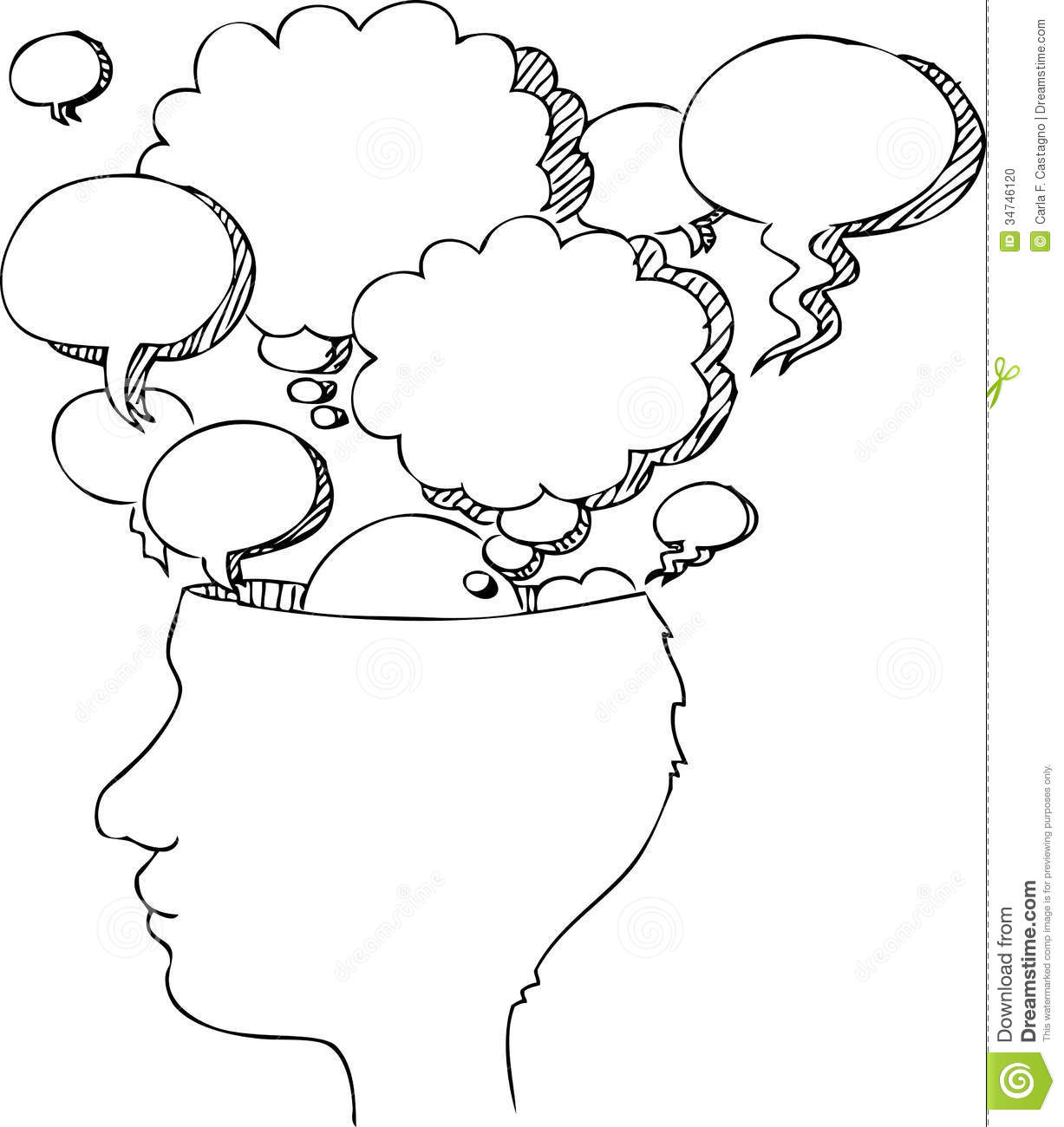 Black and white vector head profile with a lot of empty balloons.