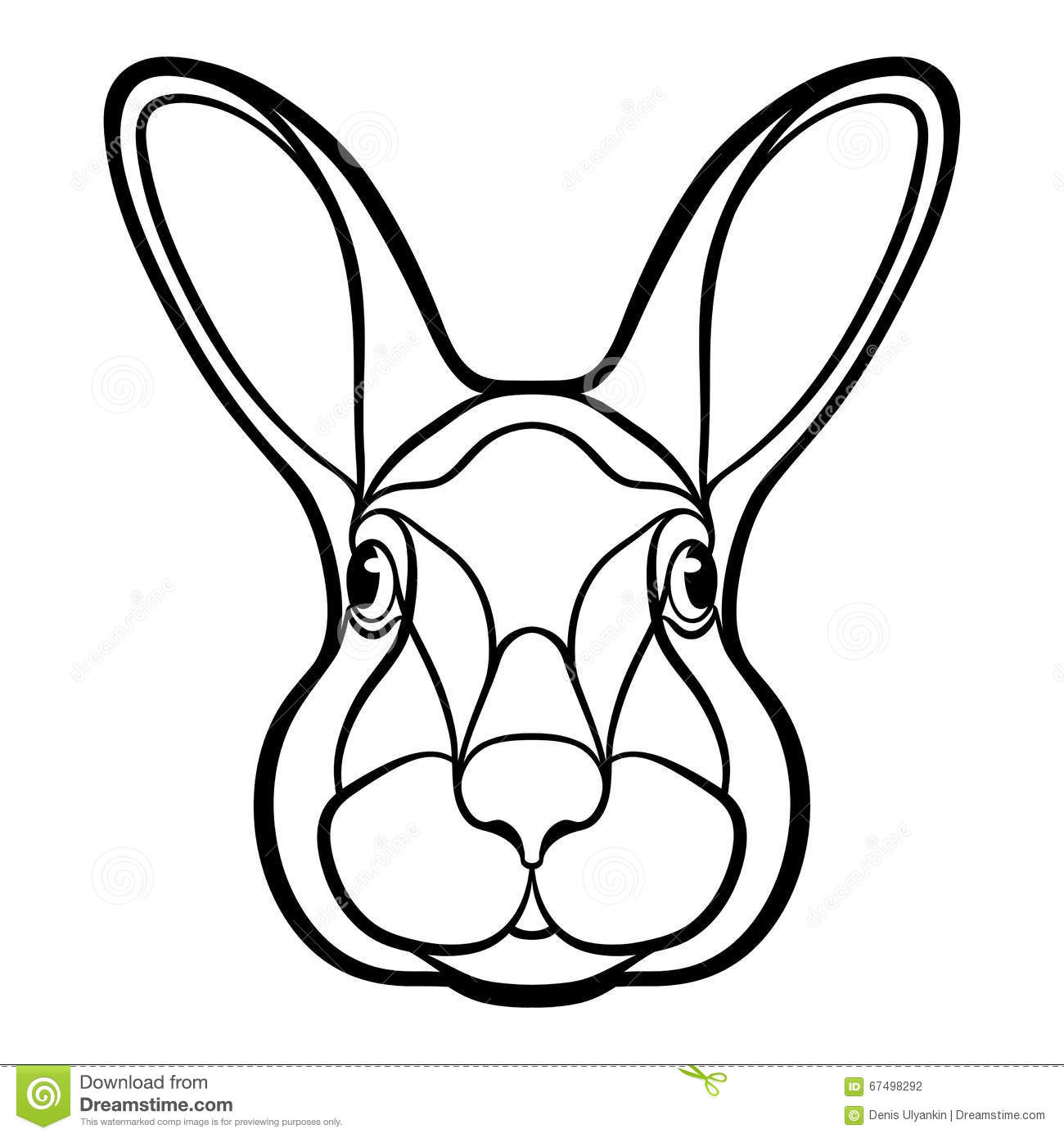 Bunny Face Line Drawing : Head of a rabbit hare coloring stock illustration image