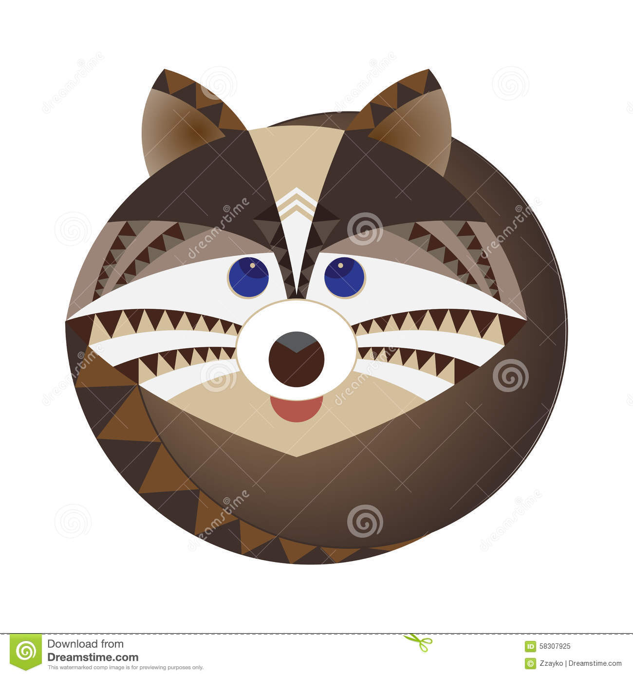 head of raccoon decorative geometric stylization stock