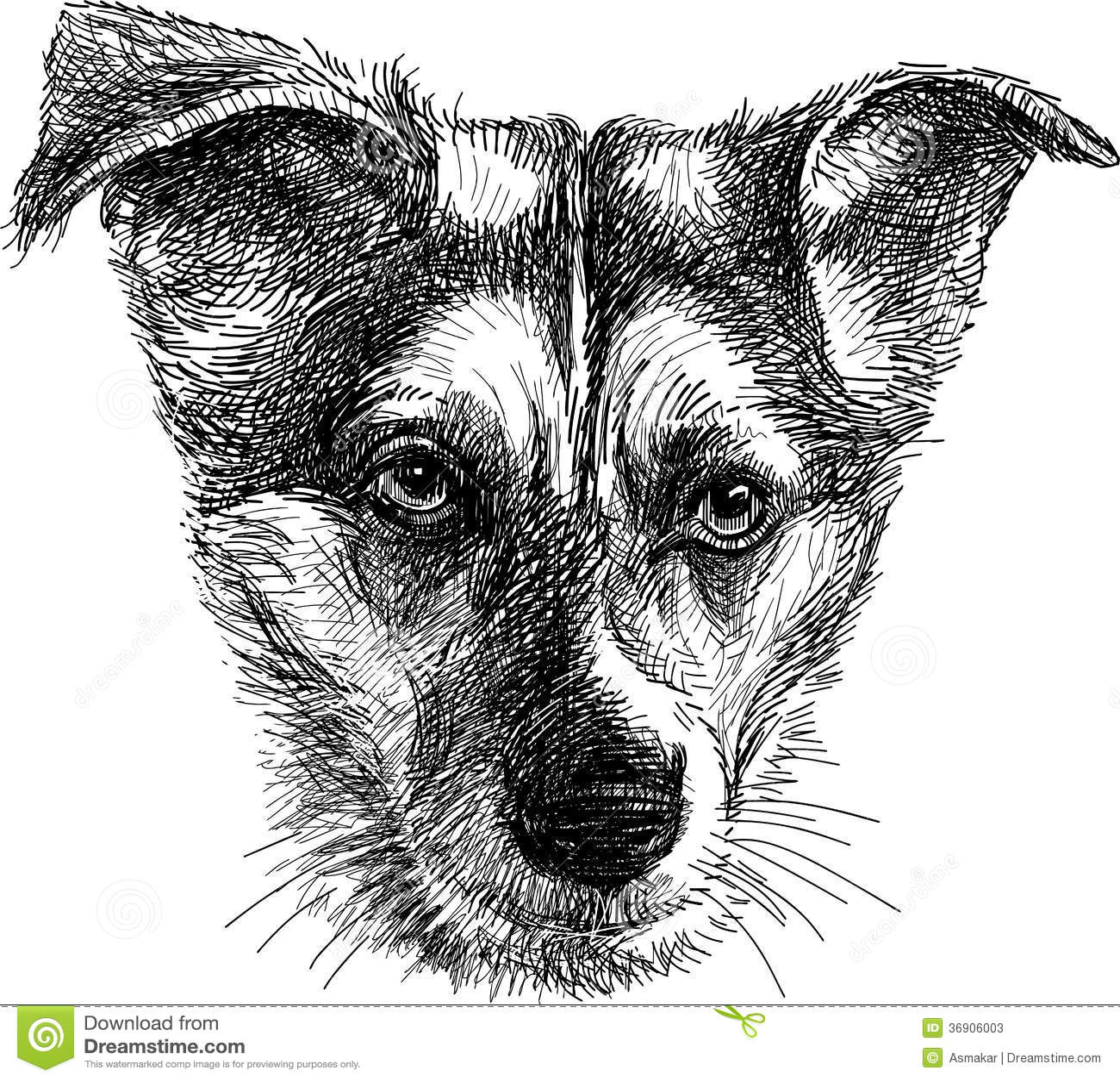 Head of sad dog stock vector  Illustration of hand, nose