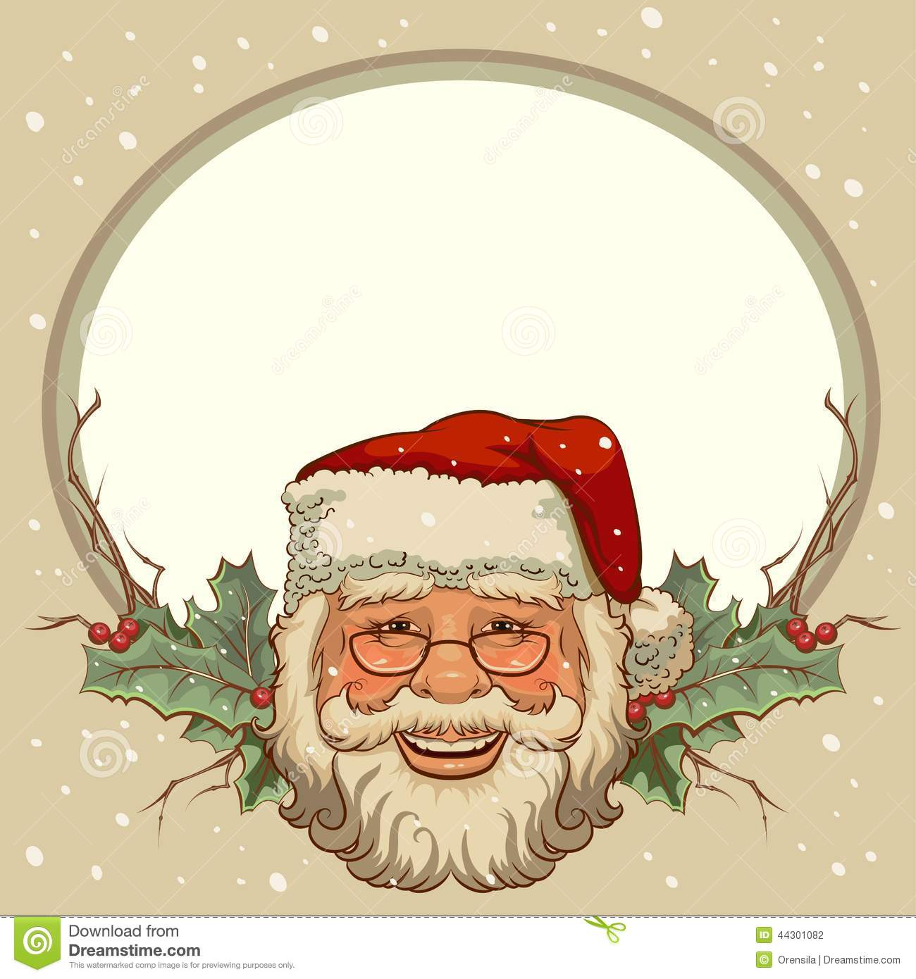 The Head Of Santa Claus Template Cards For Christmas