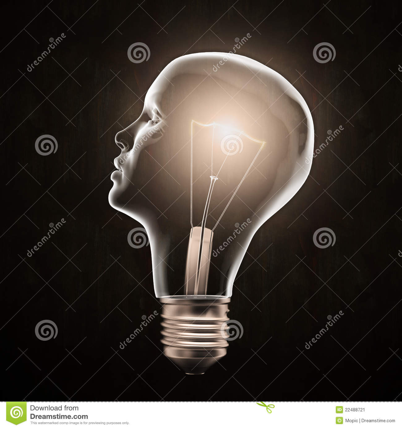 Download Head shaped light bulb stock image. Image of knowledge - 22488721