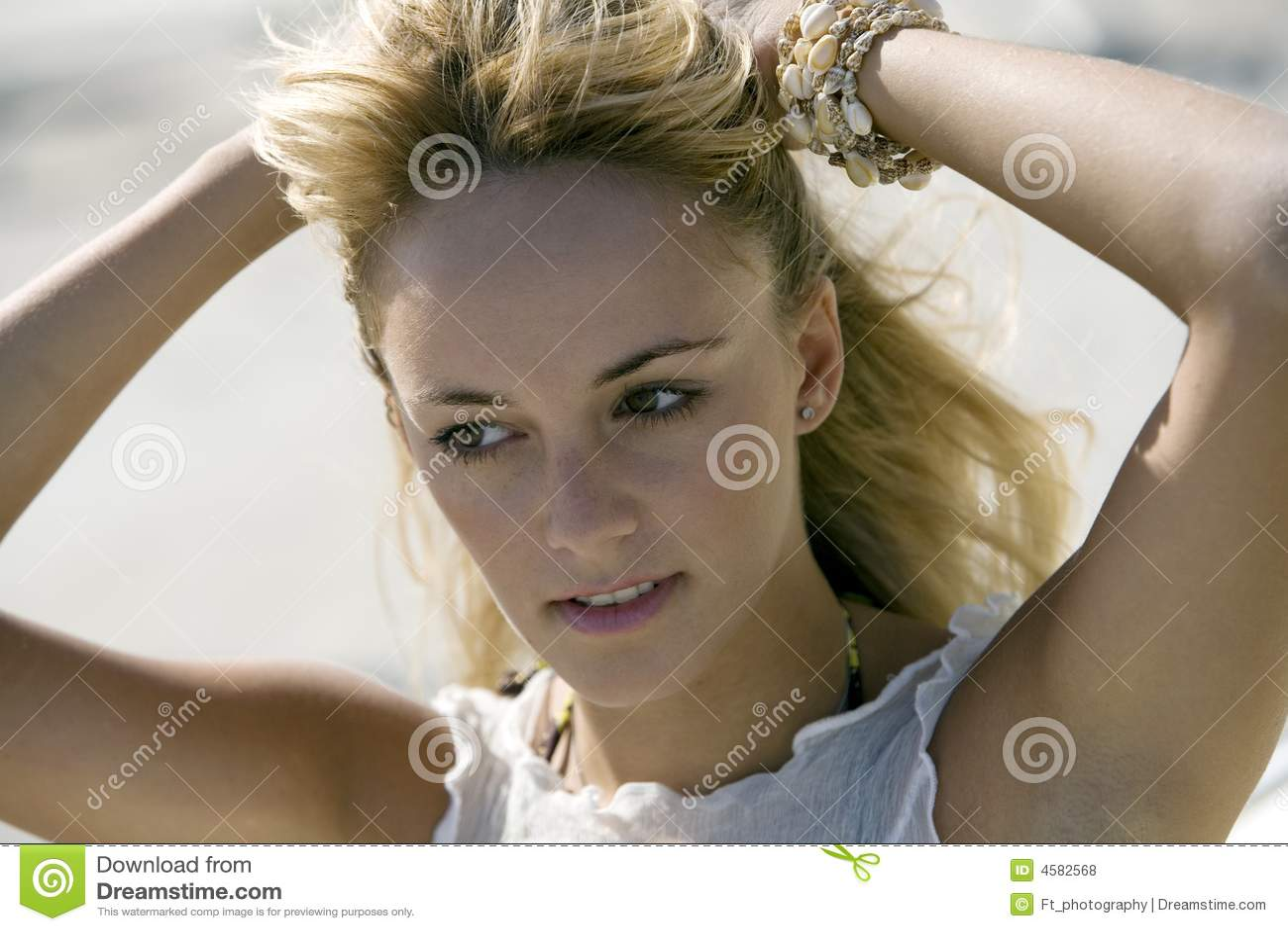 Head shot of a beautiful natural woman