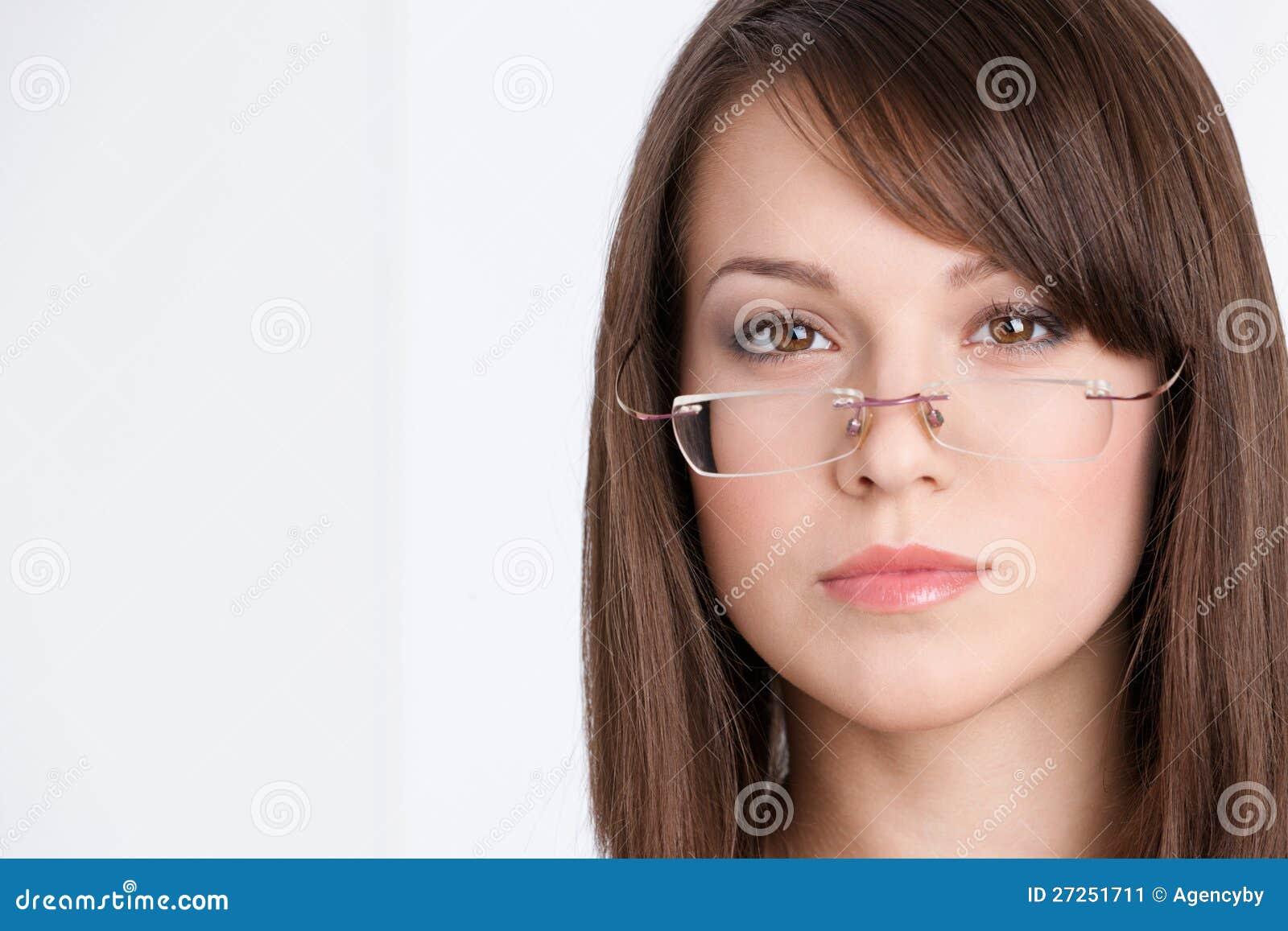Head shot of businesswoman in glasses