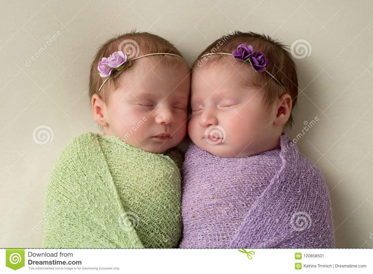 Headshot of fraternal twin newborn baby girls swaddled in light green and lavender stretch wrap material
