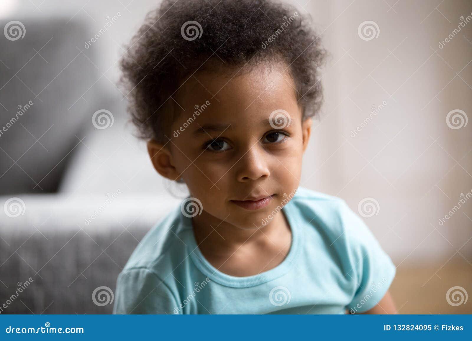Head shot portrait toddler African American child