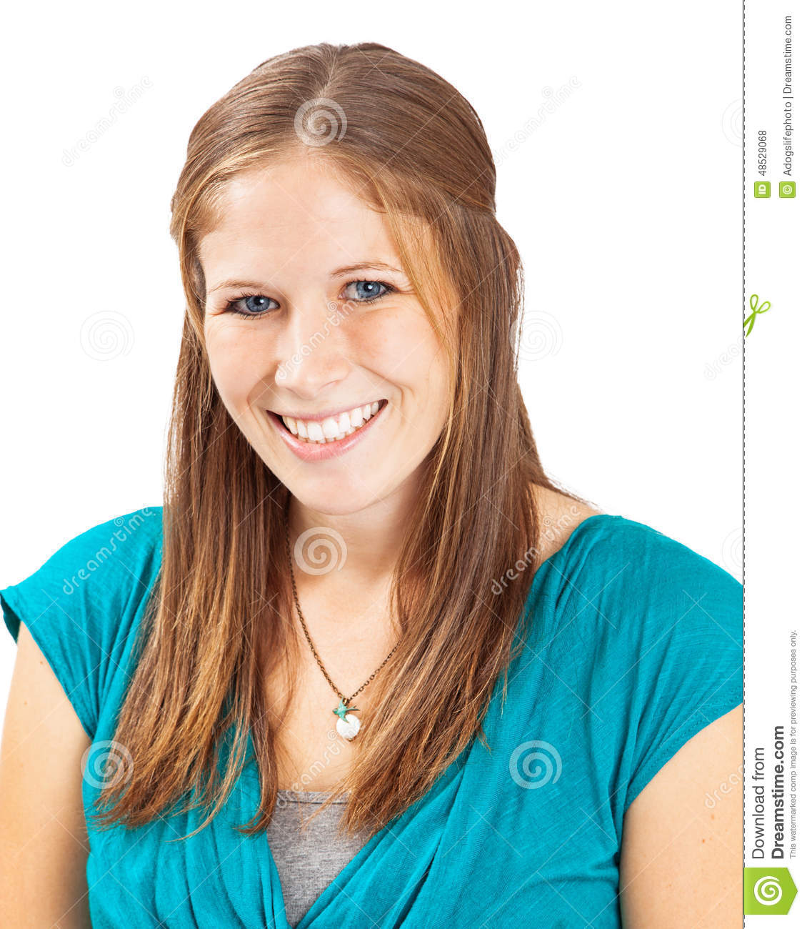 7cc864224747e Head Shot Of Young Woman Light Brown Hair Stock Photo - Image of ...