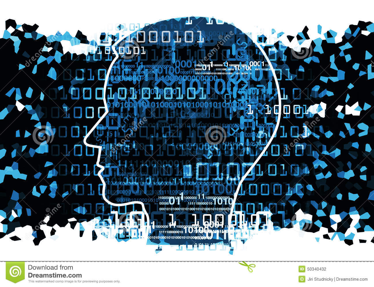 Head Silhouette With Binary Codes Stock Illustration ...  Head Silhouette...