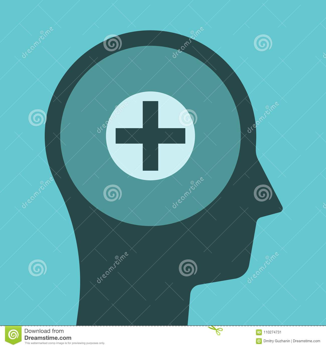 Head silhouette, positive thinking