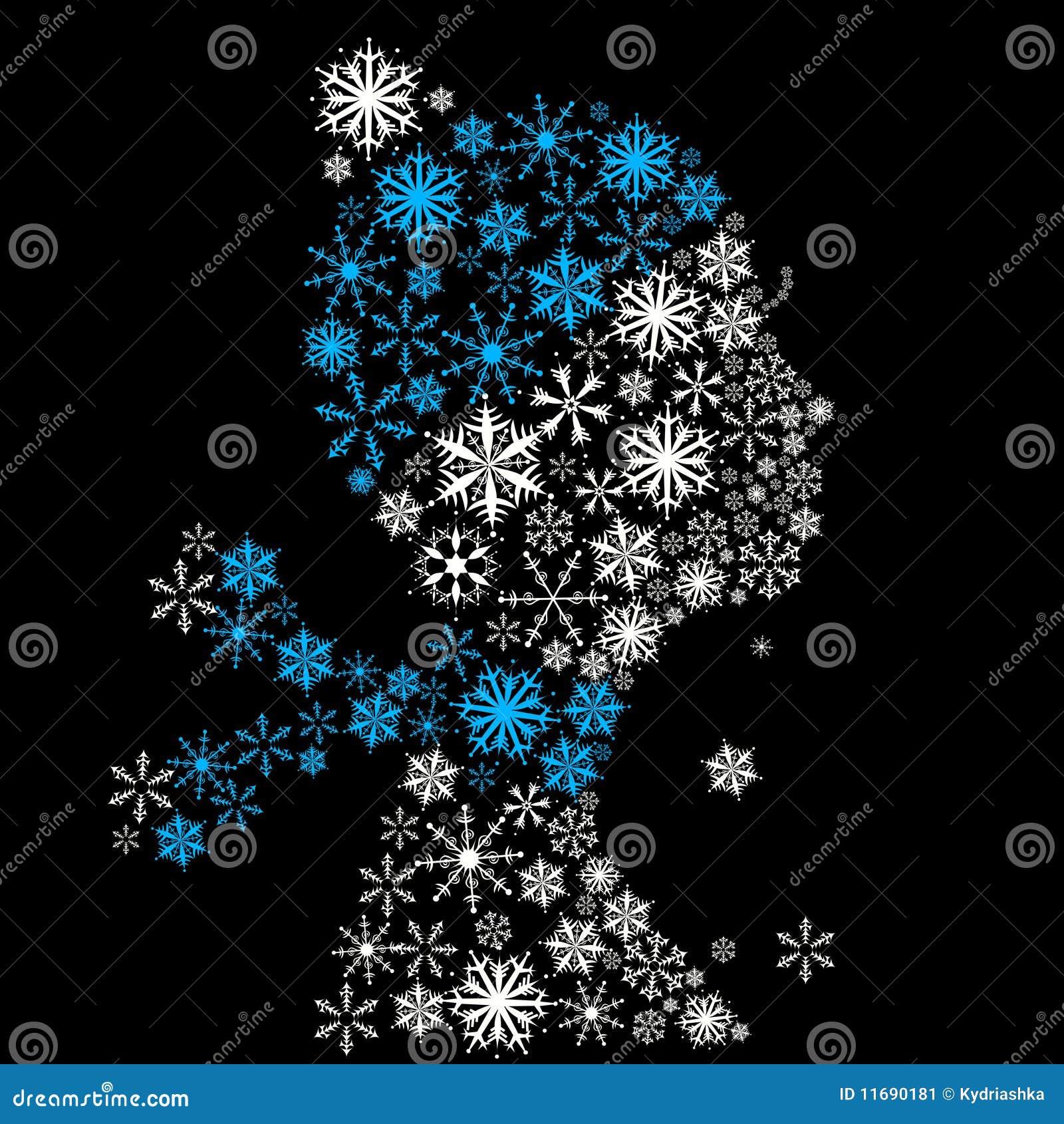 Head stylized säsongsnowflakes övervintrar kvinnan