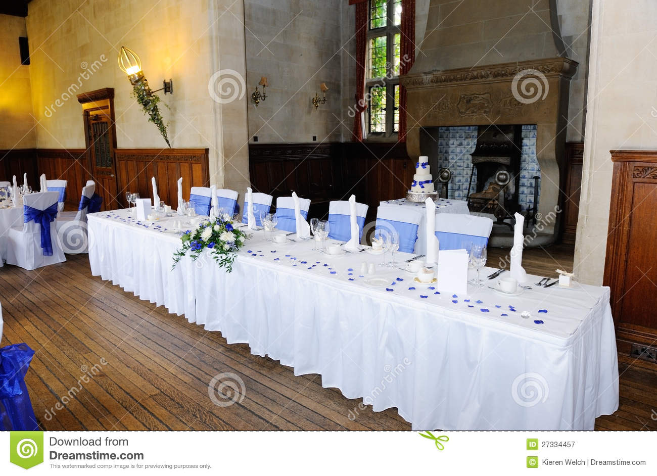 Head table at wedding reception royalty free stock