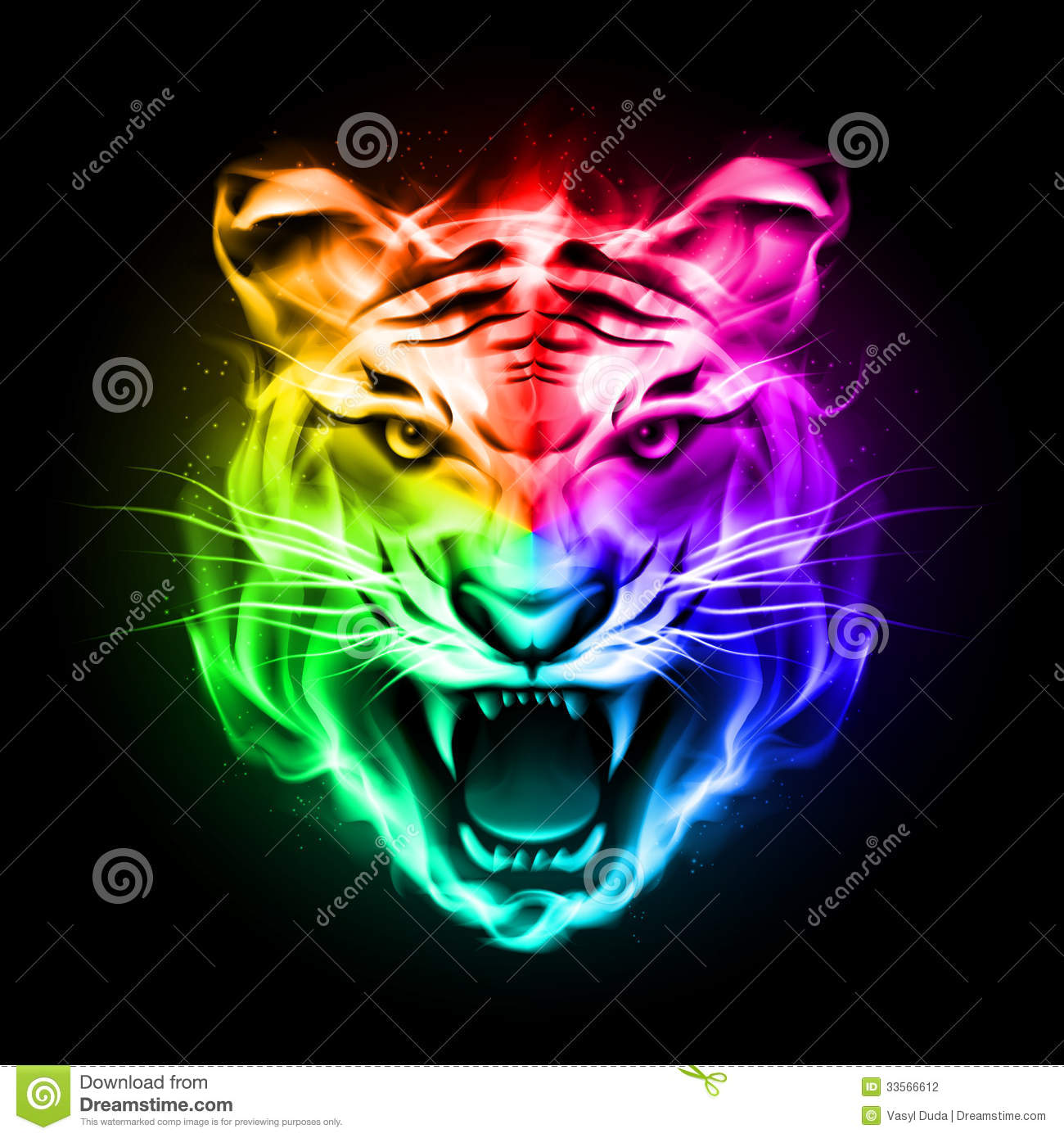 Head Of Tiger In Colorful Fire. Stock Photography - Image: 33566612
