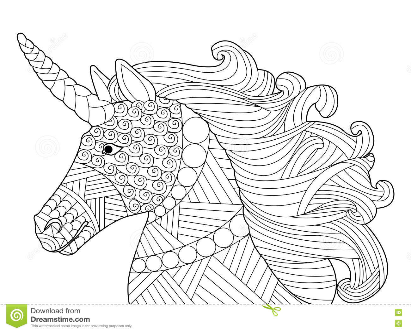Head Unicorn Coloring Vector For