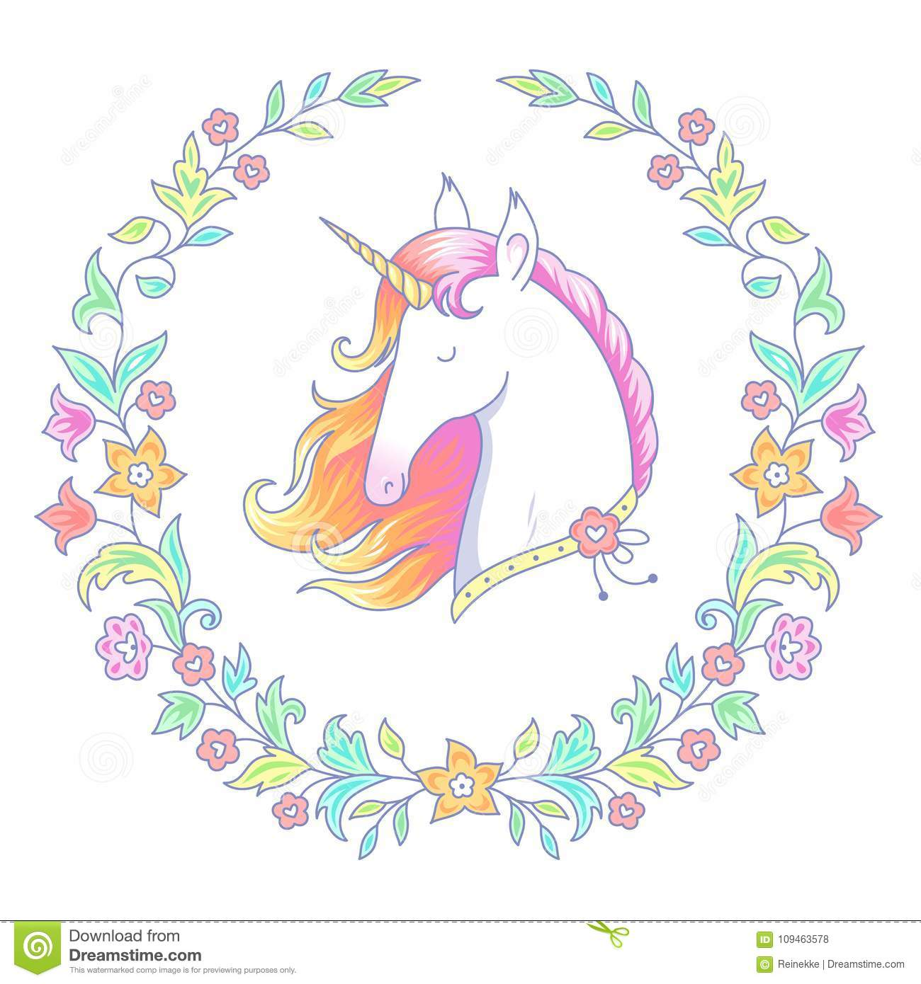 Unicorn in floral wreath stock vector. Illustration of harness ...