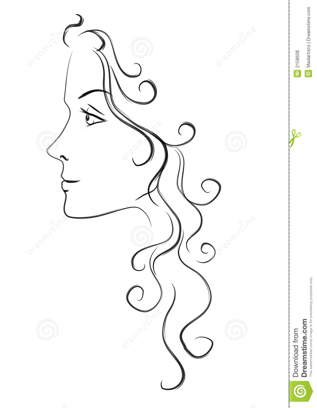 Head of Woman With Long Hair
