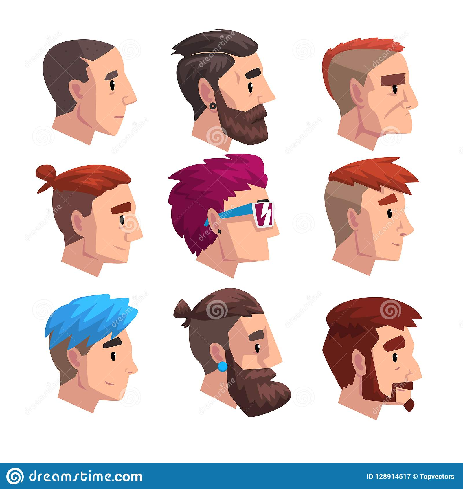 head of young man with fashion hairstyles set profile of guys with