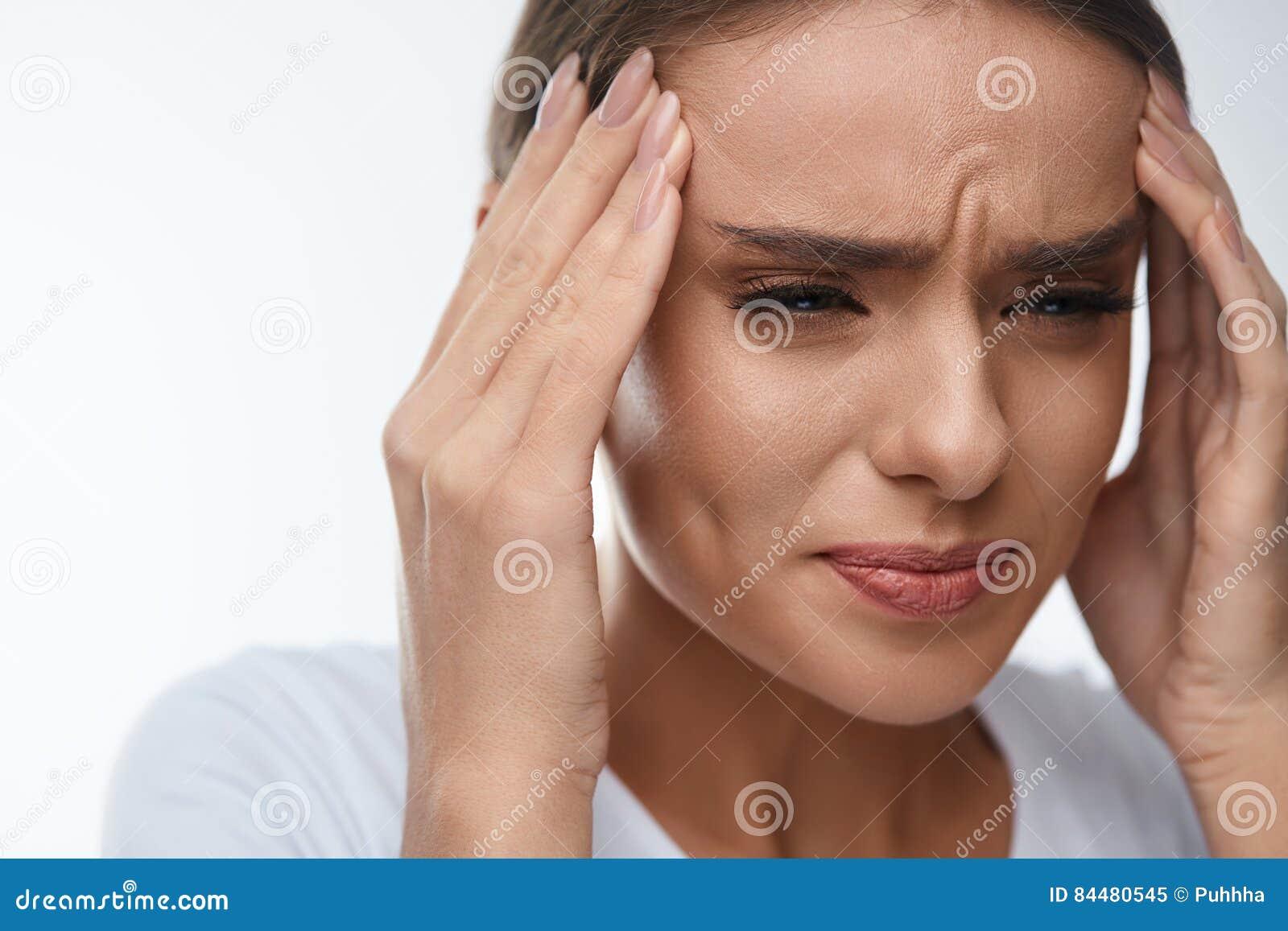 Headache Pain Beautiful Woman Having Painful Migraine Health Stock